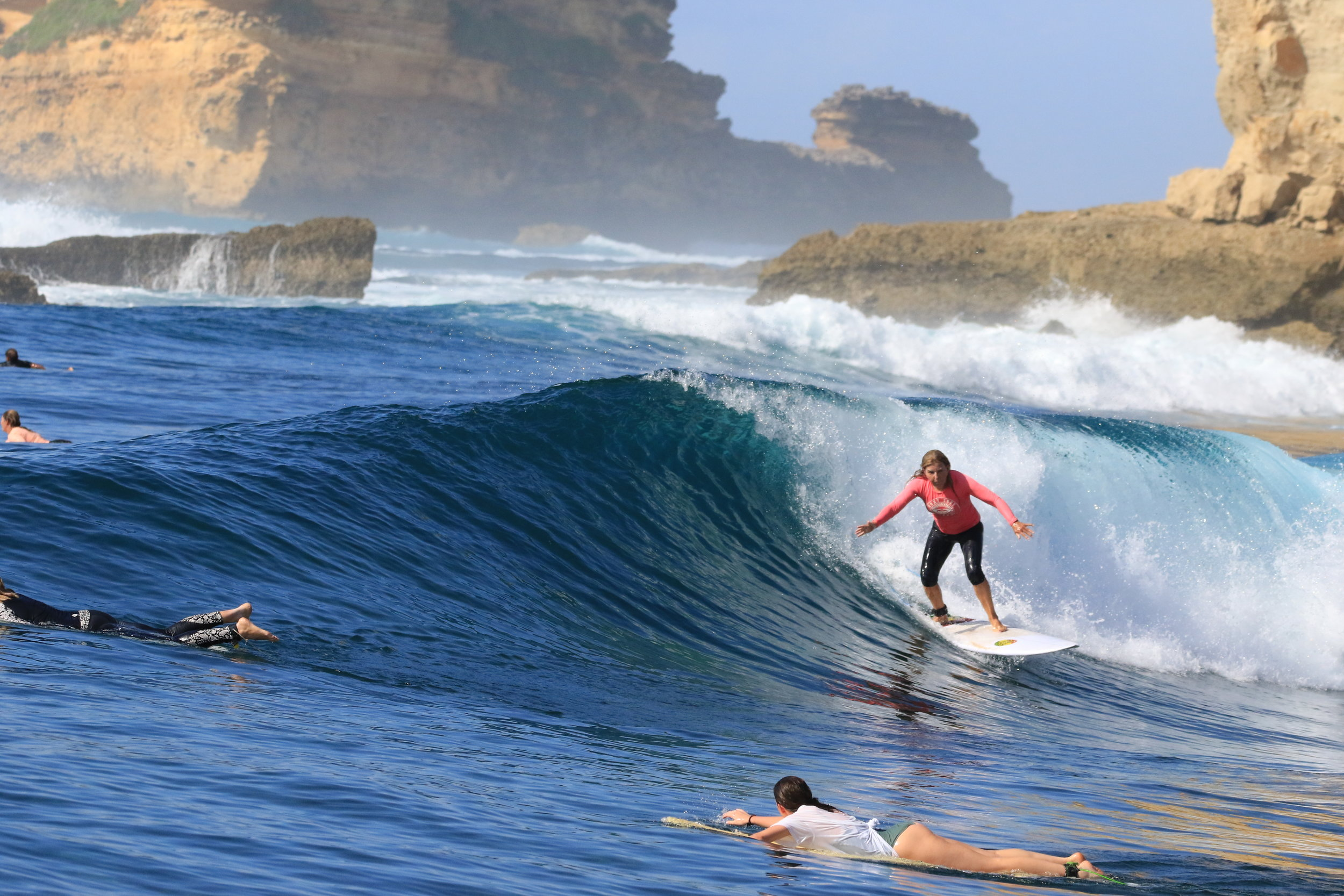 Nice wave but, can you spot this surfer's error? Hint: look at her foot positioning