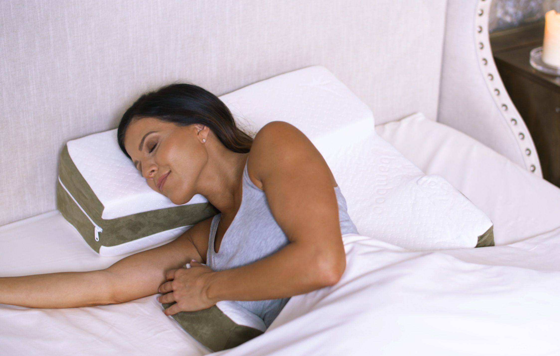 Snug Position - Simply turn onto your side so the shoulder drops into the cutout.