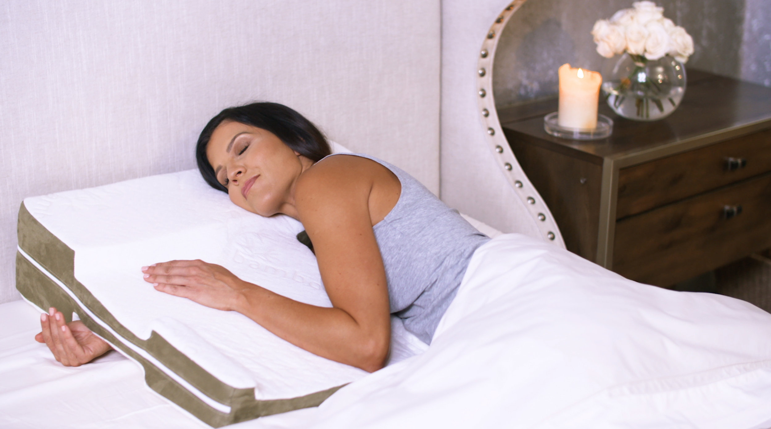 Hug Position - Turn in toward the pillow for another shoulder-pain free way to sleep.