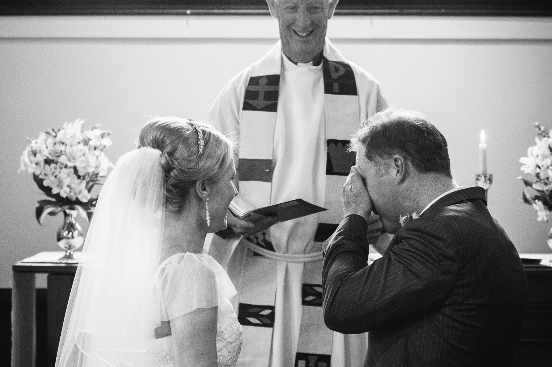 Farm wedding, St Mary's Leeston, Nicola & Nathan exchange vows.