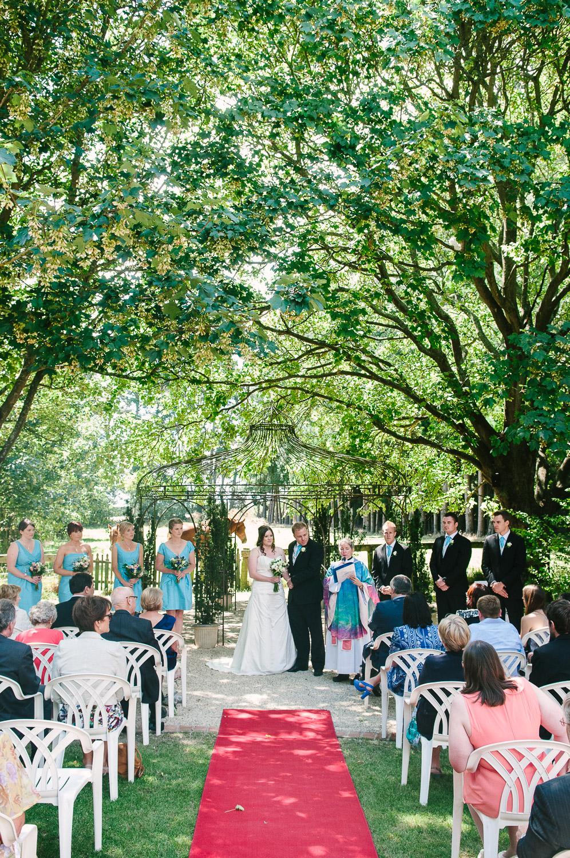 Trent's Estate Vineyard Wedding, Rebecca & Chris exchange wedding vows.