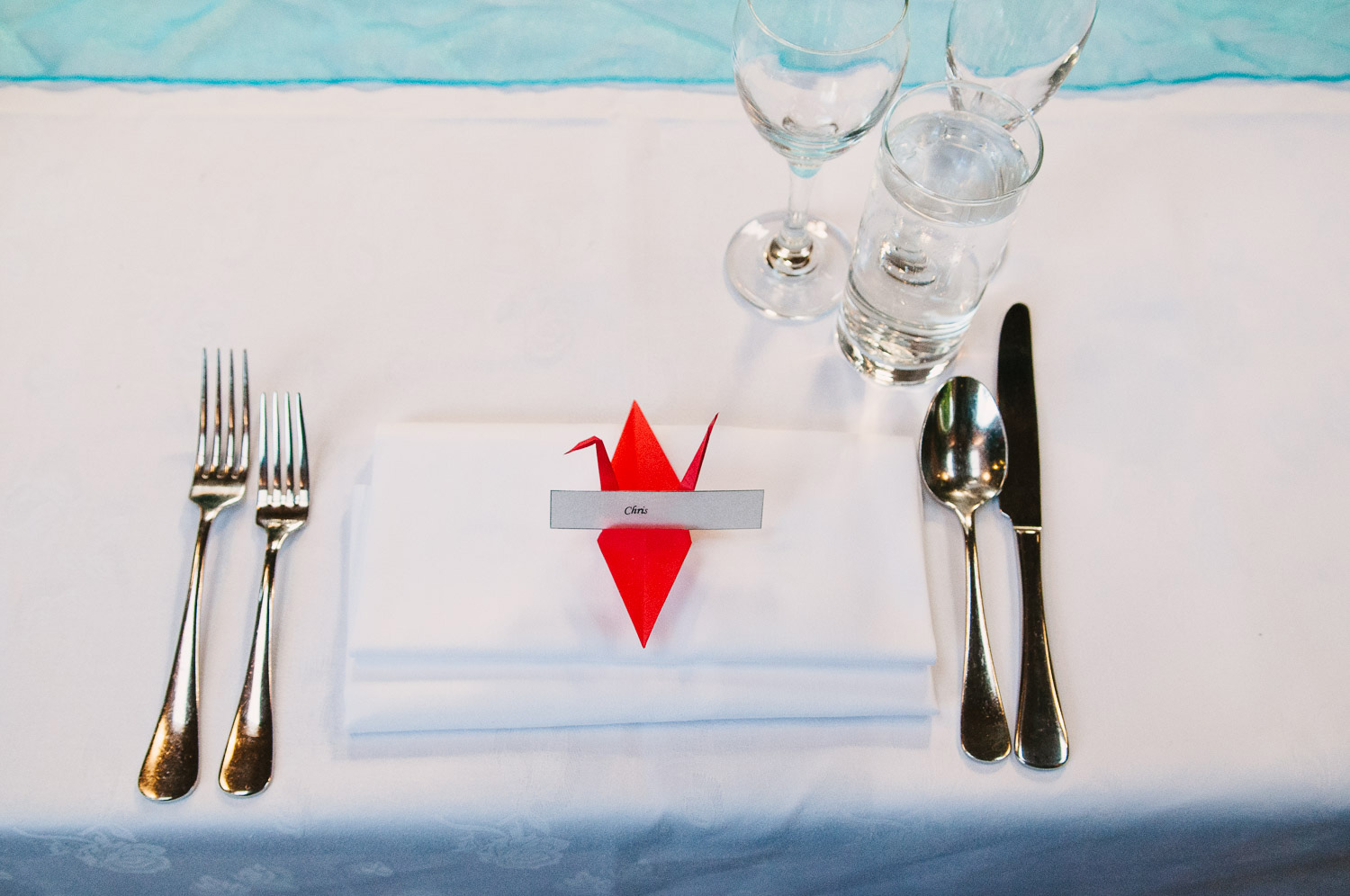 Trent's Estate Vineyard Wedding, table setting with peace crane.