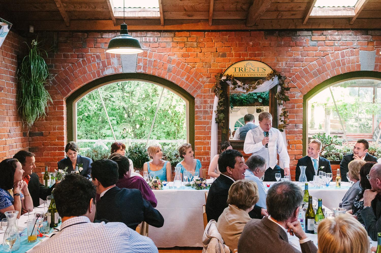 Trent's Estate Vineyard Wedding, Chris at his wedding reception.