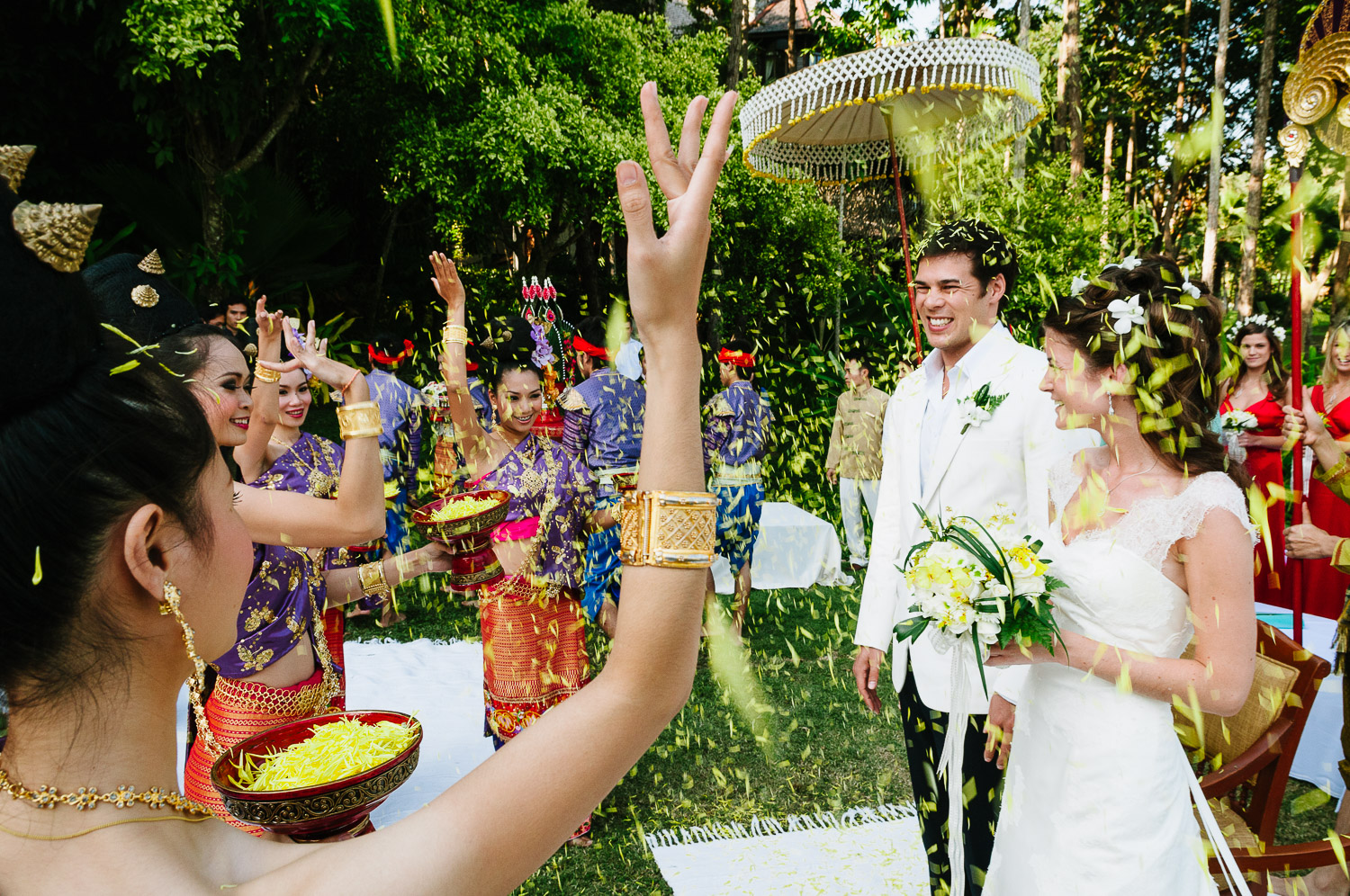 Katie and Tim's wedding day at Four Seasons Resort Chiang Mai, Thailand, on the 28 November 2009.