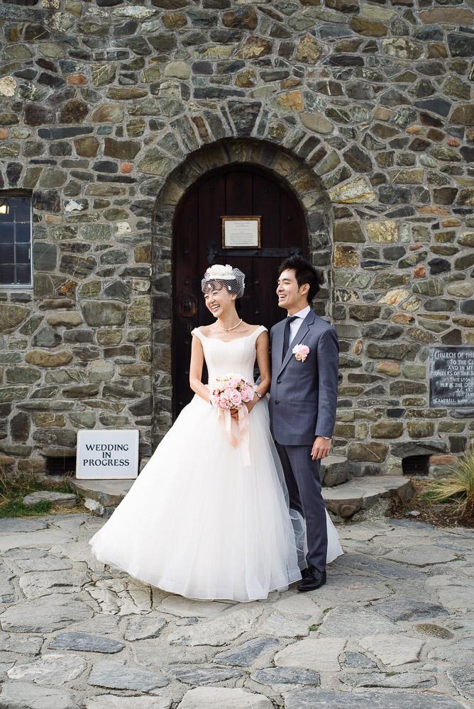 Just married at The Church of the Good Shepherd, Lake Tekapo.