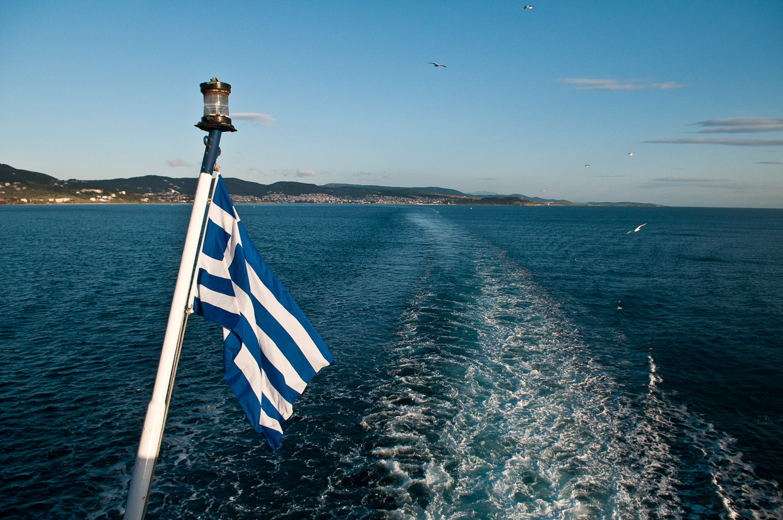 Travelling by ferry amongst the Greek Islands, Greece.