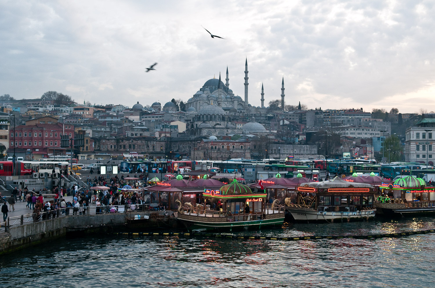 Harbour side view of the Old City of Istanbul, Turkey, on the 5 April 2012. The mosque on the hill is Suleymaniye Mosque.