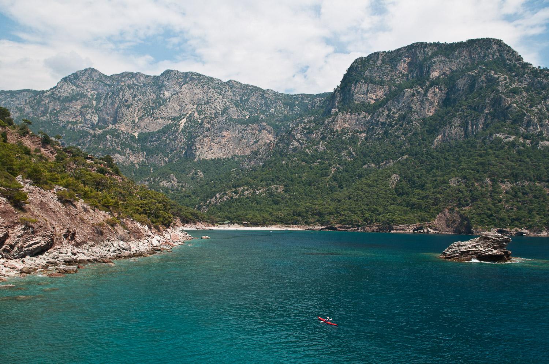 Woman sea kayaking the Turquoise Coast, Turkey.