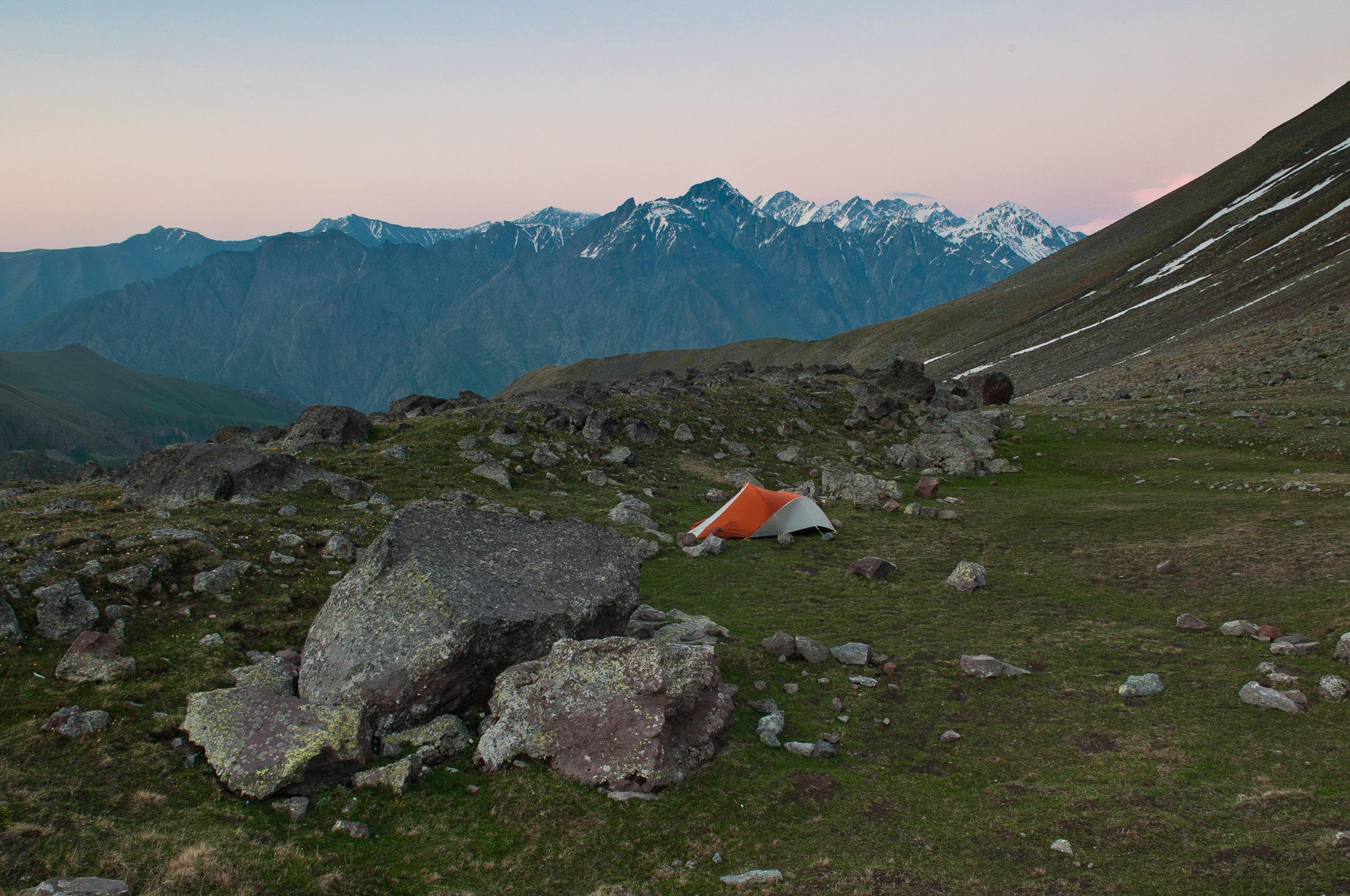 Alpine camp site in the mountains above Kazbegi village, Georgia.