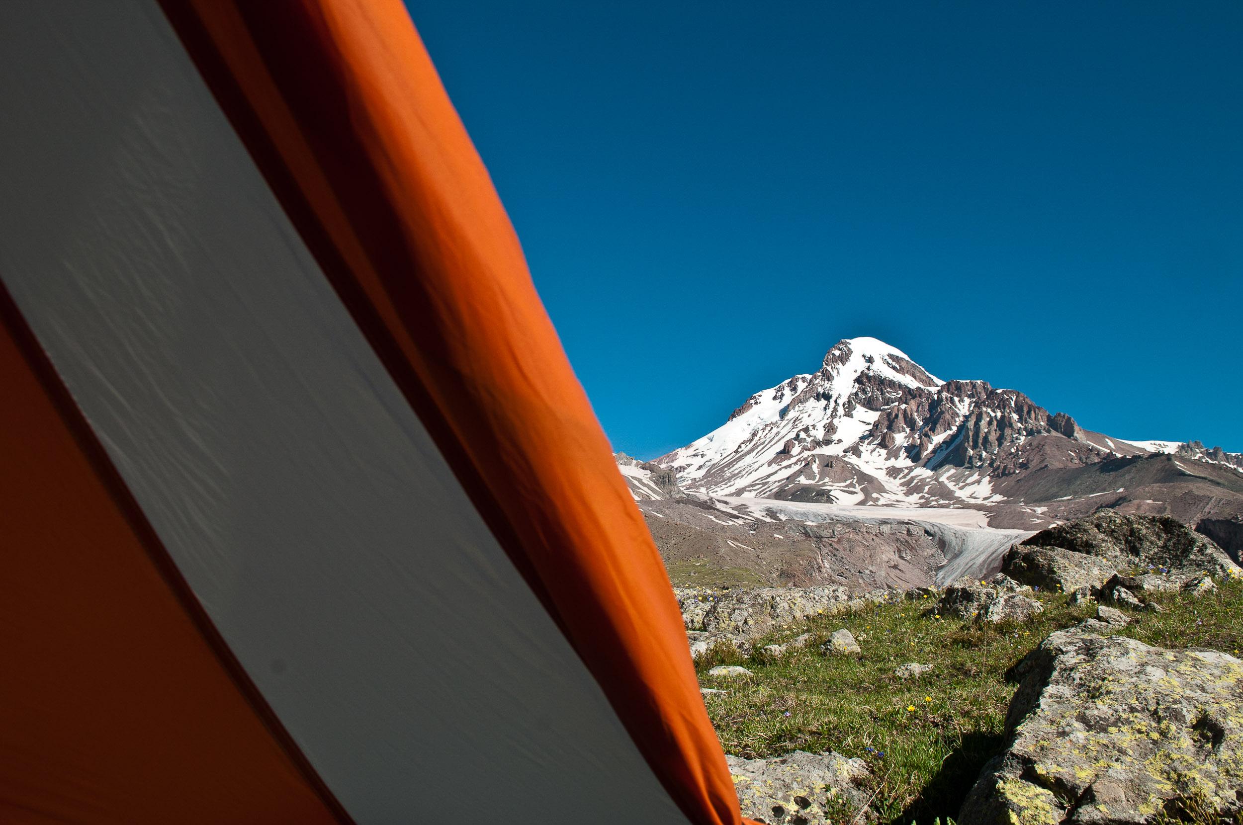 View of Kazbegi mountain, Mtiuleti Range, Georgia