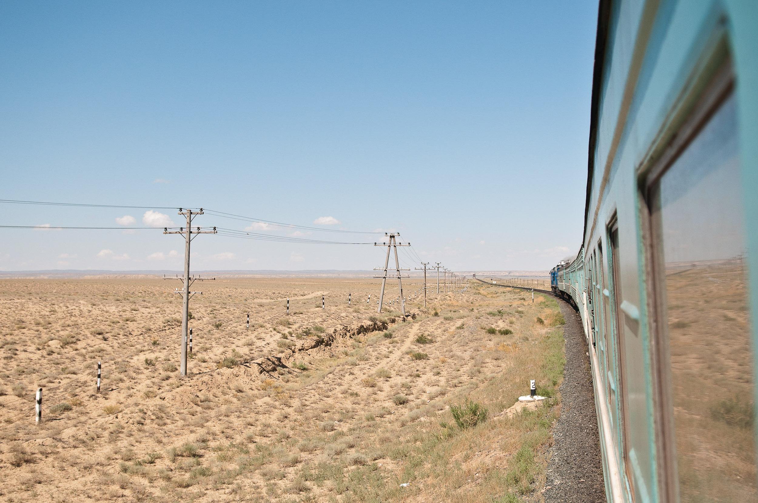 Travelling by train through western Kazakhstan, Kazakhstan.