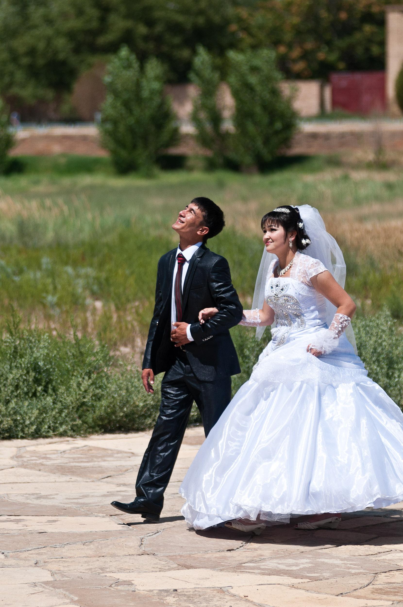 Bride and groom, Turkistan, Kazakhstan.