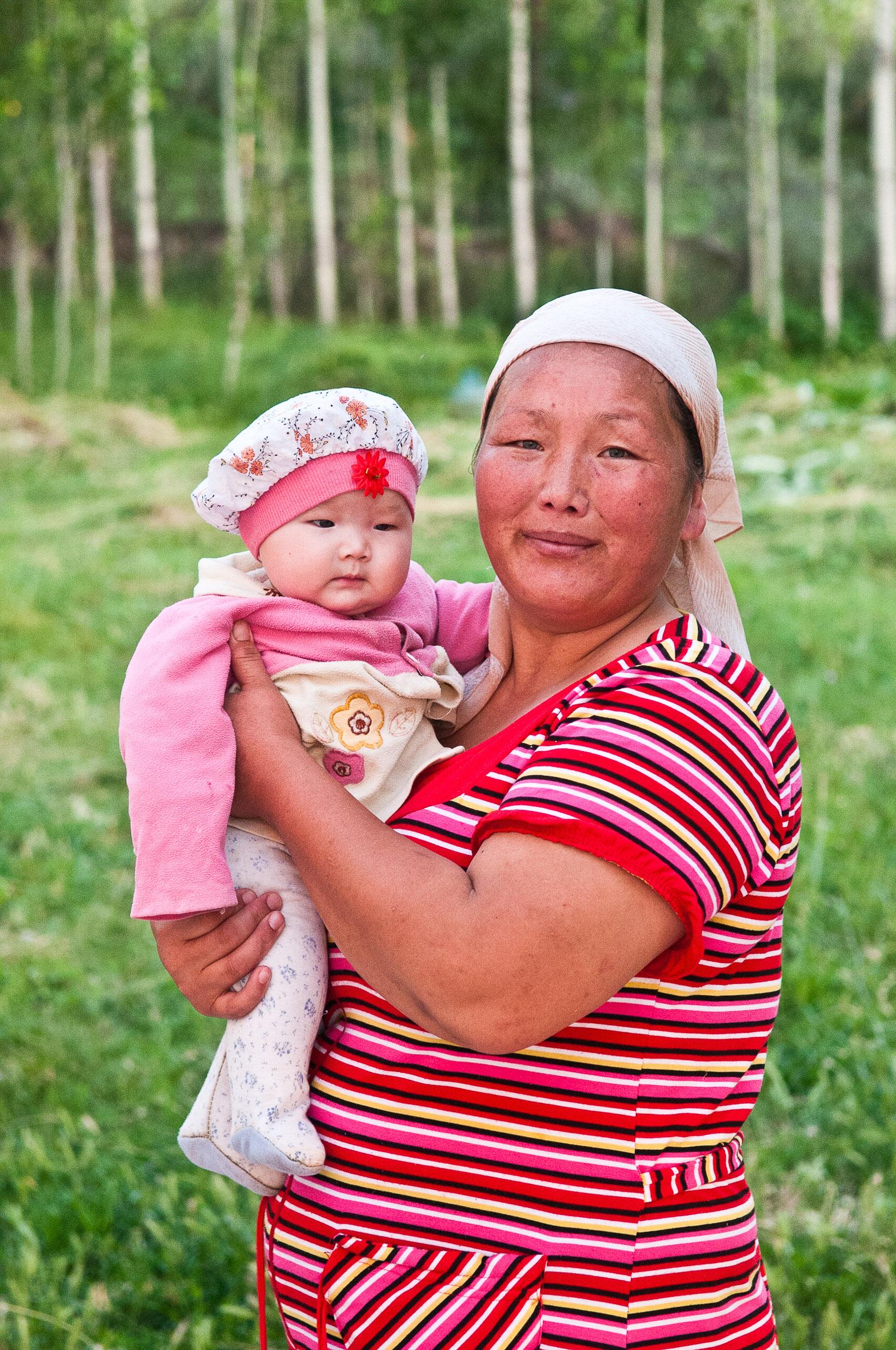 Mother and child portrait, Kazakhstan.