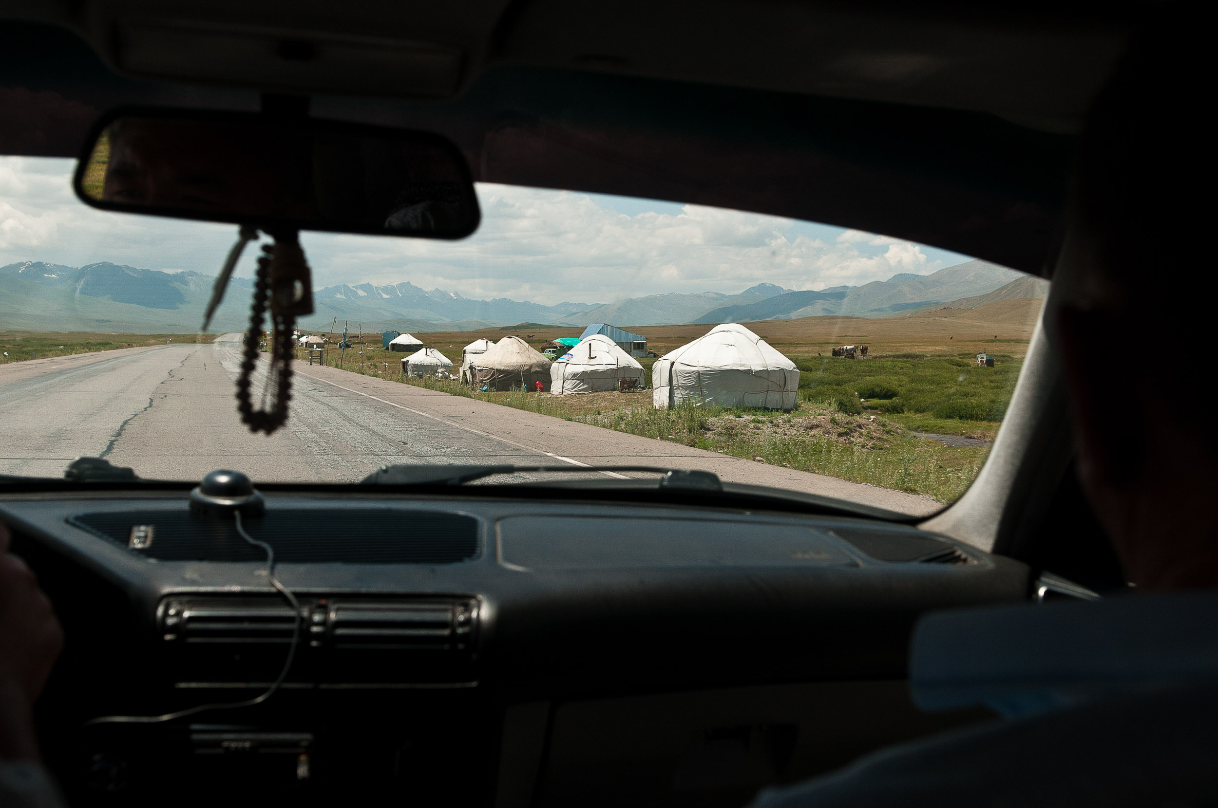 Gers or yurts on the road to Osh, Kyrgyzstan.