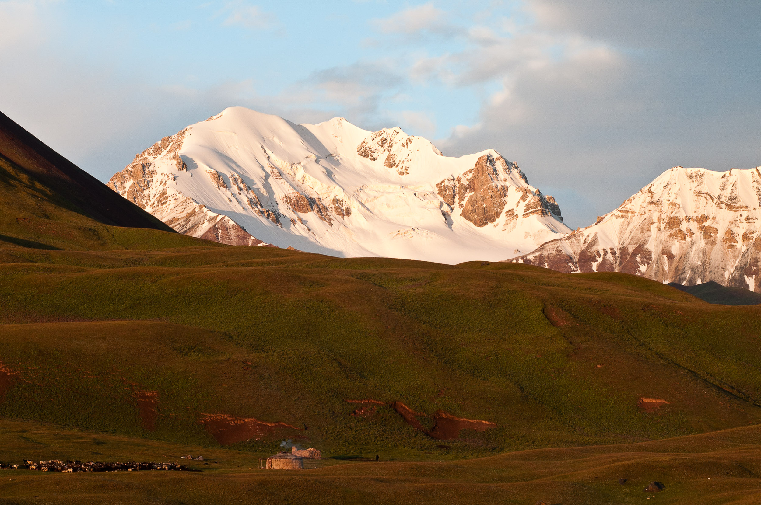 Yurt and mountains, Kyrgyzstan.
