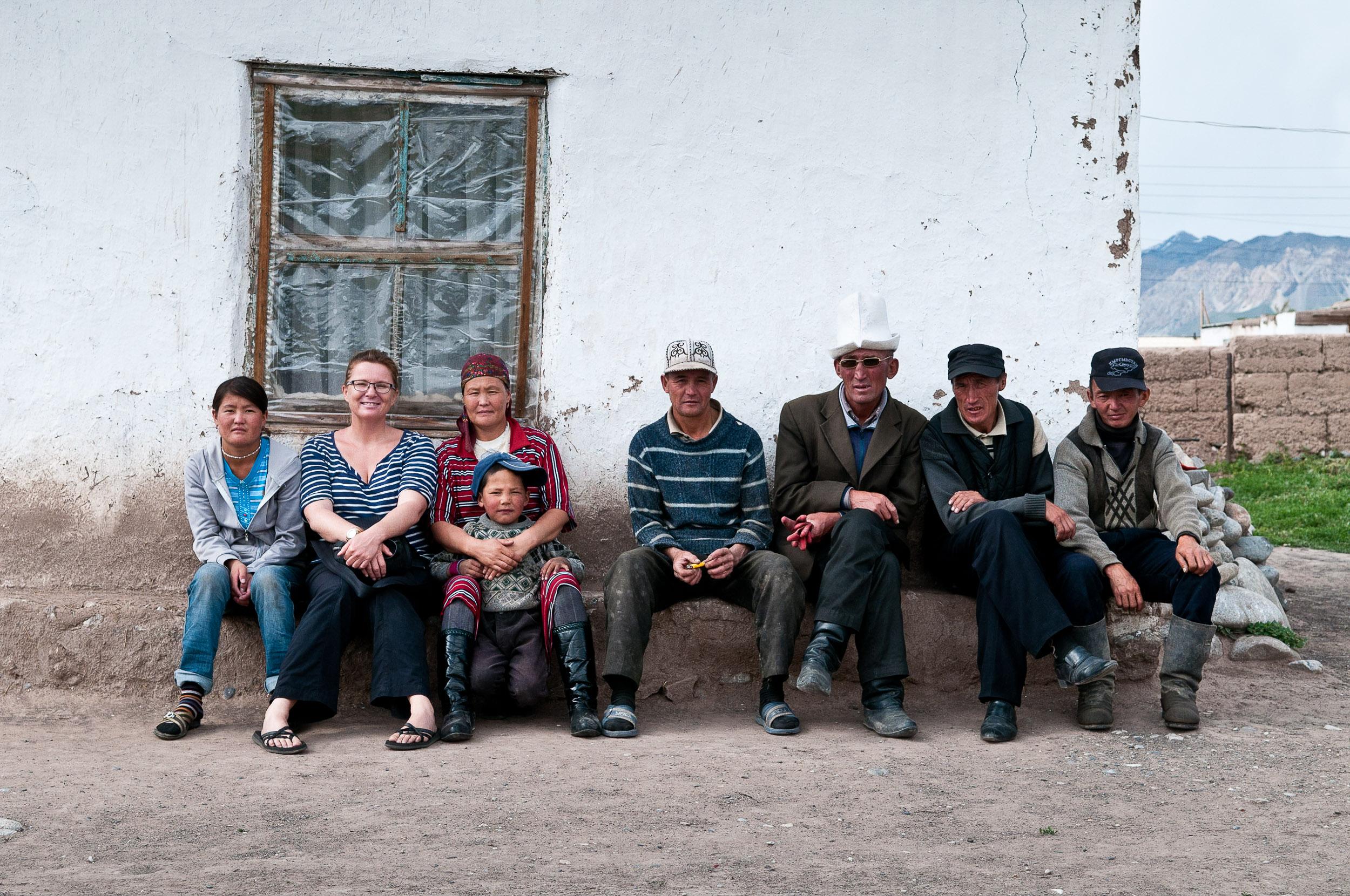 Jane and locals, Sary Tash village, Kyrgyzstan.