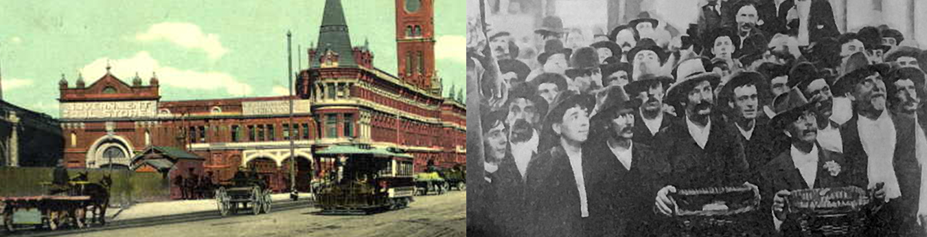 Left: The Flinders Street facade of the new market buildings, 1891; Right: Market day, 10 March, 1906.