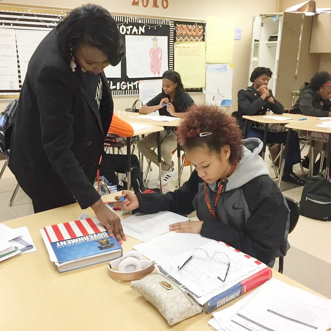 """Nikki volunteering with the students at Douglass High School as a """"Teacher for a Day"""" participant with Oklahoma City Public Schools"""