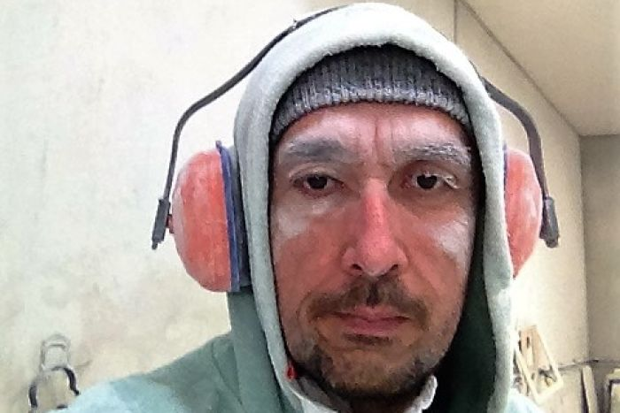 "PHOTO: Former factory worker Tahir Ozkul said he could look like a ""snowman"" after a day of cutting stone."