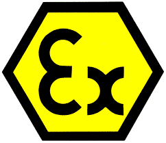 Mark for ATEX certified electrical equipment for explosive atmospheres.