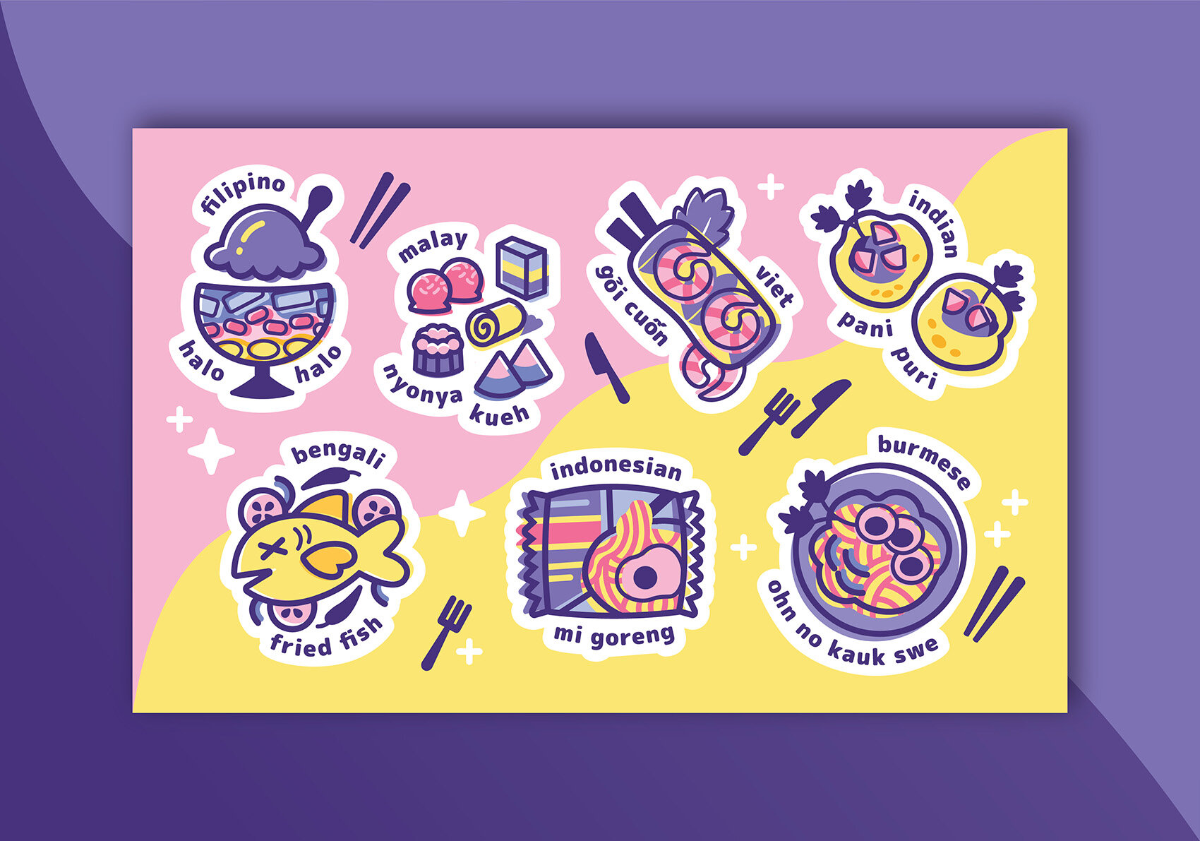 "Sticker designs commissioned by the moderator of an online group with 5000+ international members called ""Asian Creative Network"""