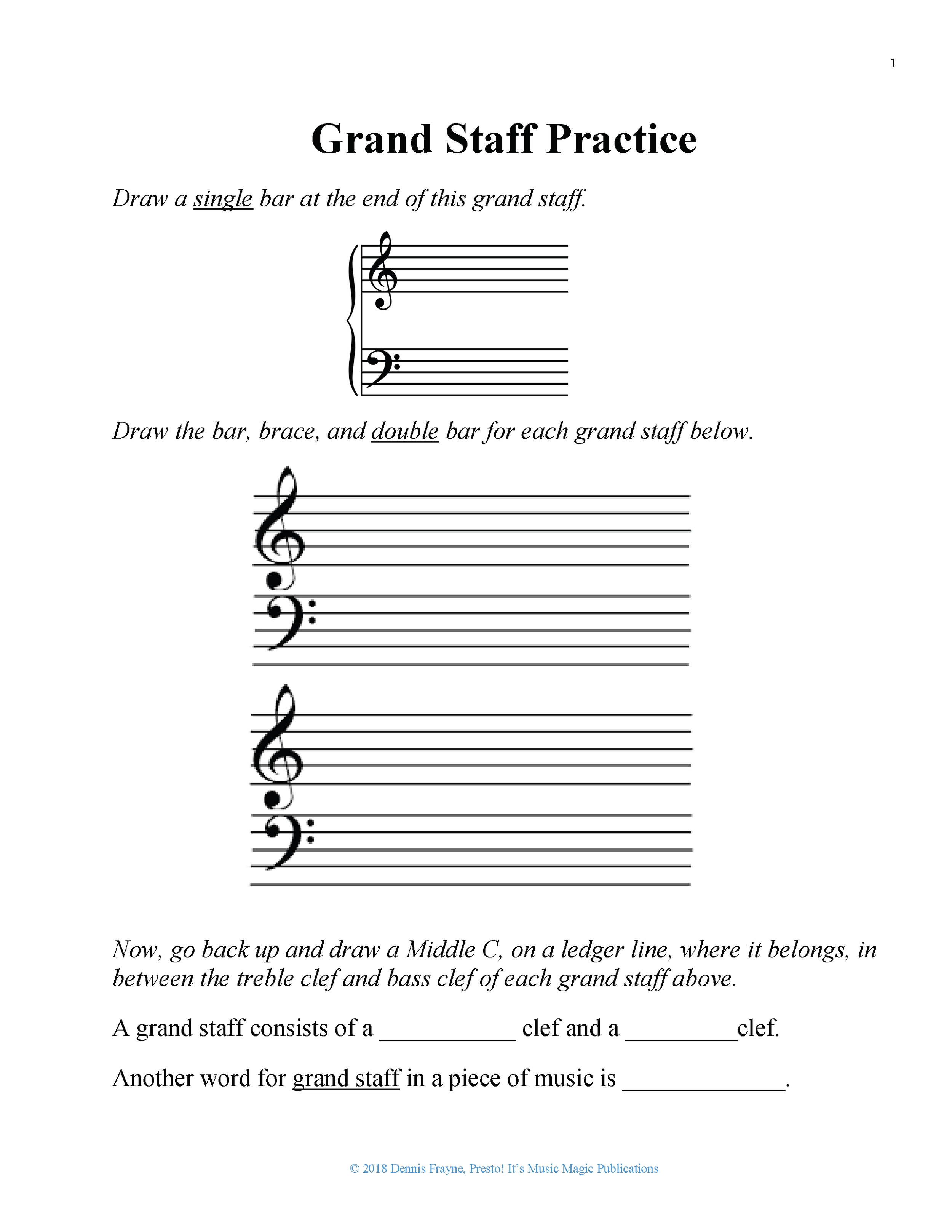 Grand Staff Practice, Worksheet, Level 0 2 pages