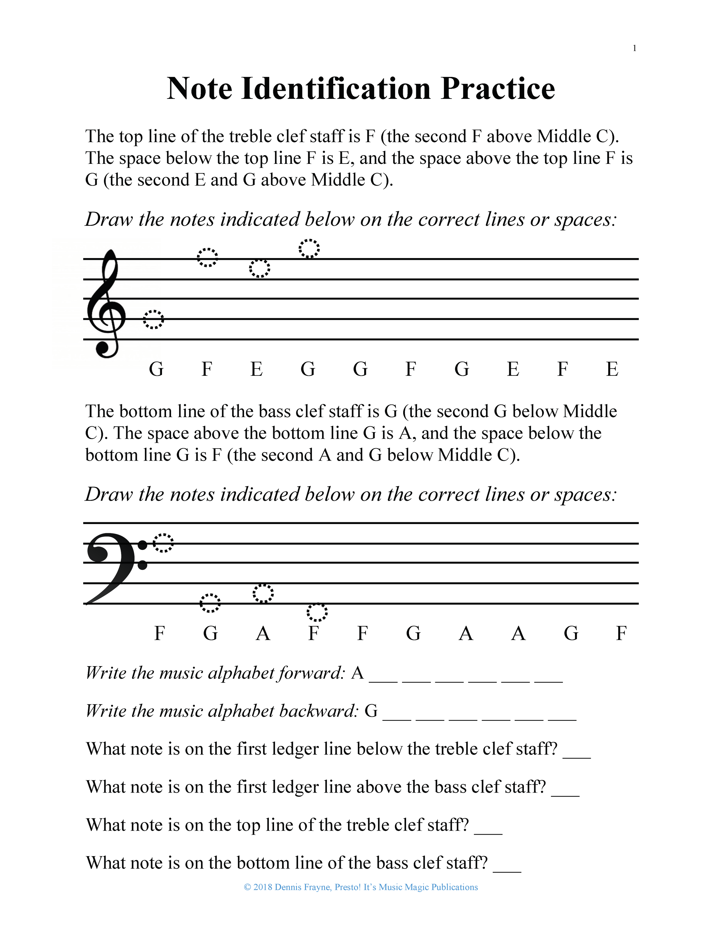 Grand Staff Note Identification Practice Worksheet, Level 0-2 3 pages