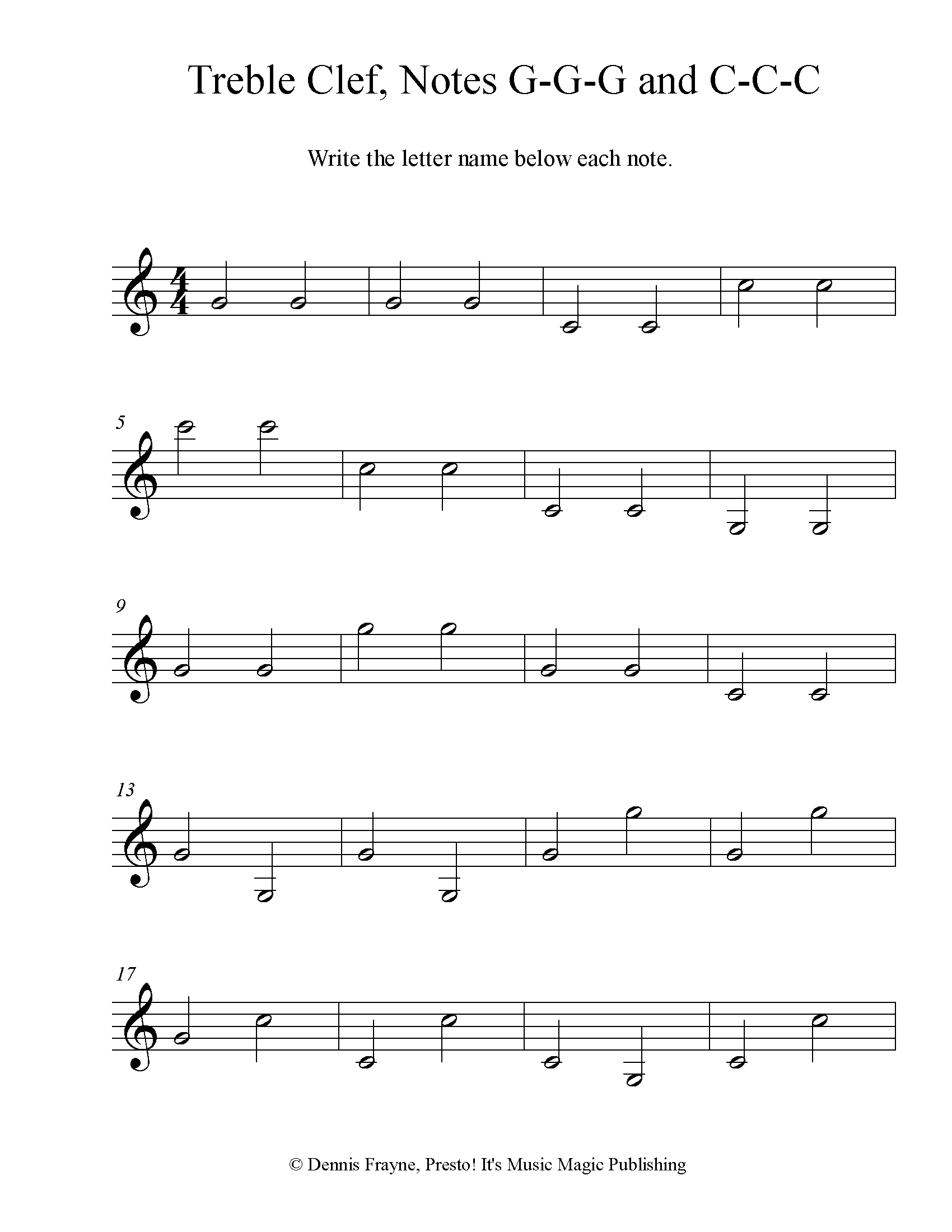 Treble Clef Note Identification Practice Worksheet, Level 4 4 pages