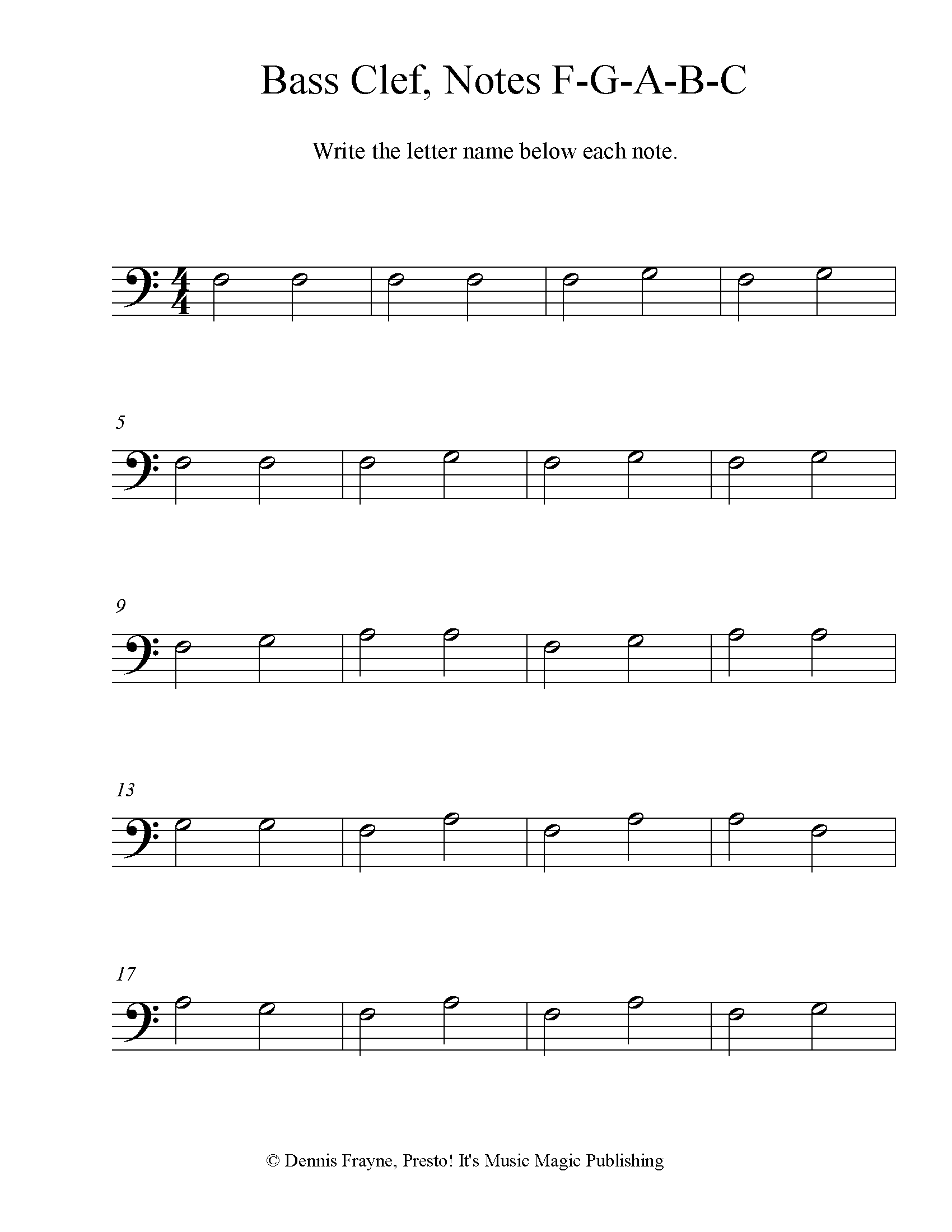 Bass Clef Note Identification Practice Worksheet, Level 1 4 pages