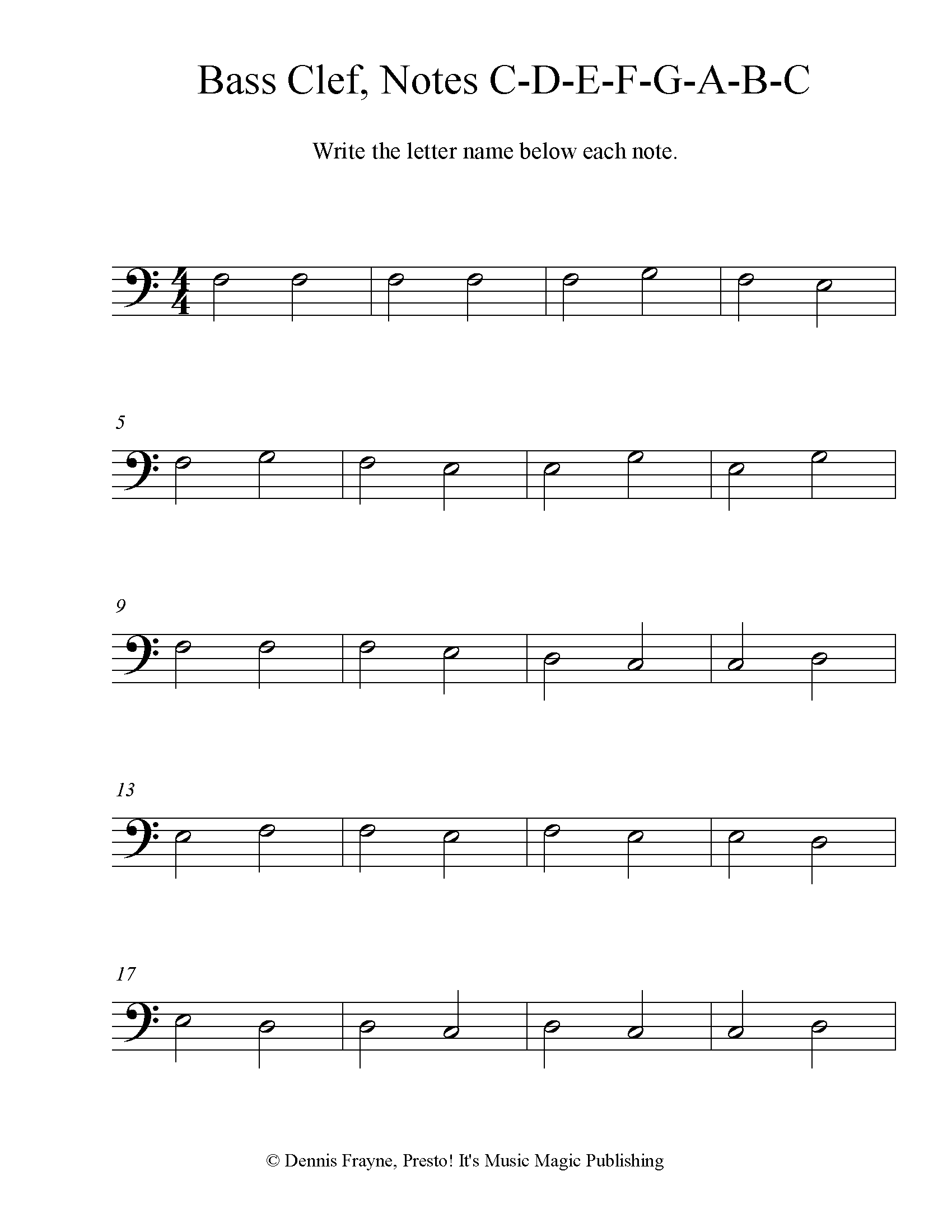 Bass Clef Note Identification Practice Worksheet, Level 2 4 pages