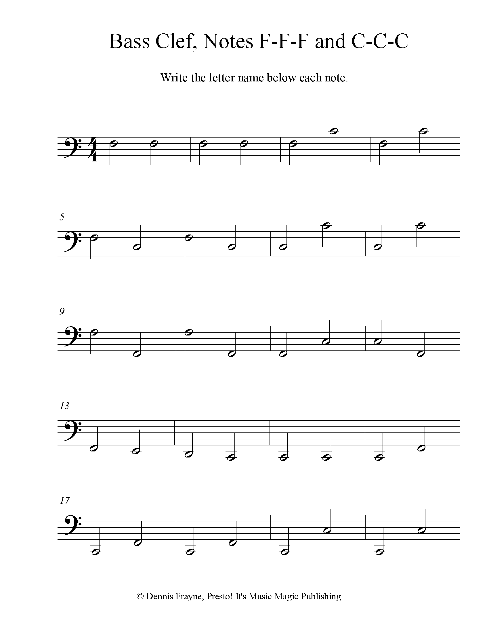 Bass Clef Note Identification Practice Worksheet, Level 4 4 pages
