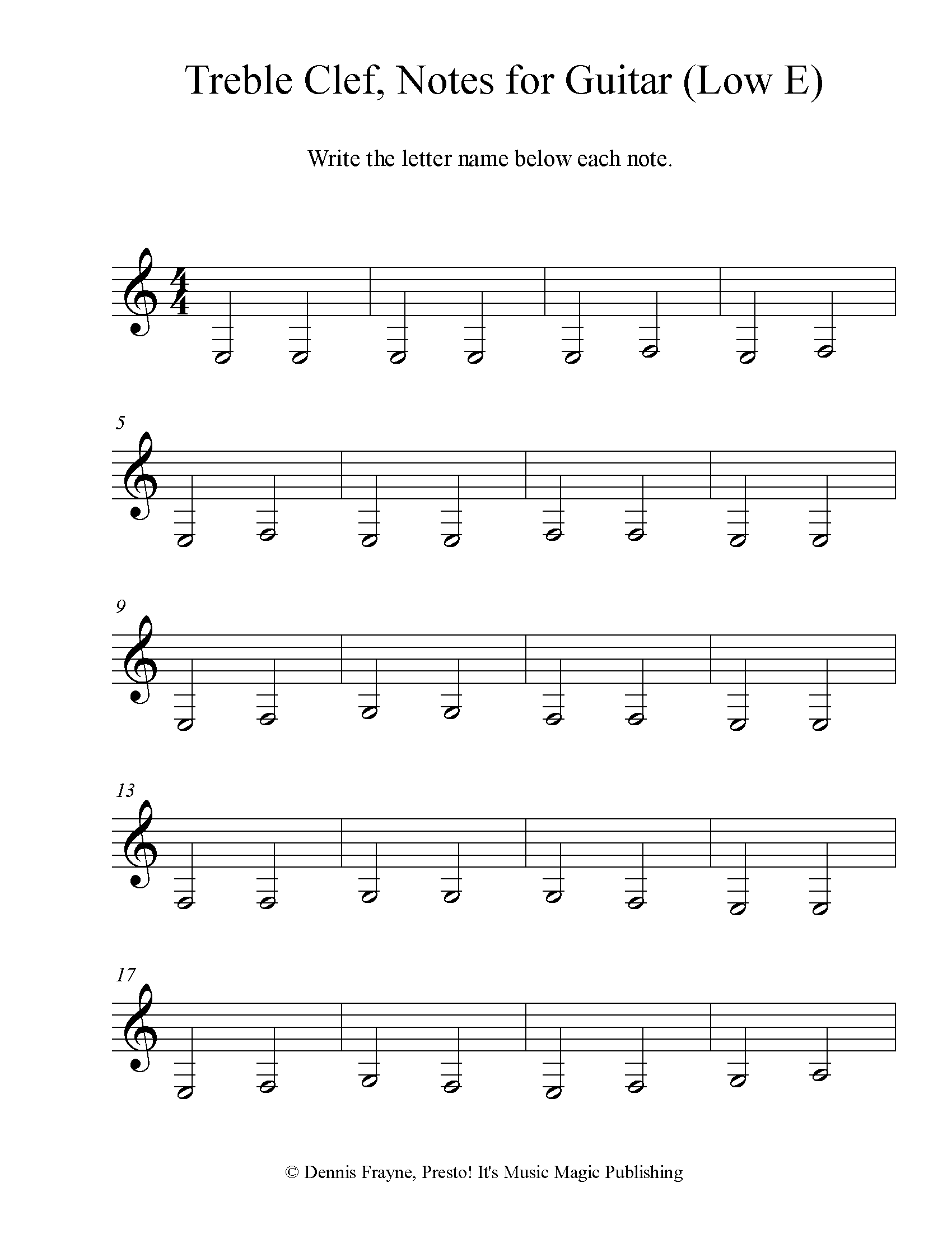 Treble Clef Note Identification for Guitar (Low E ascending) 6 pages