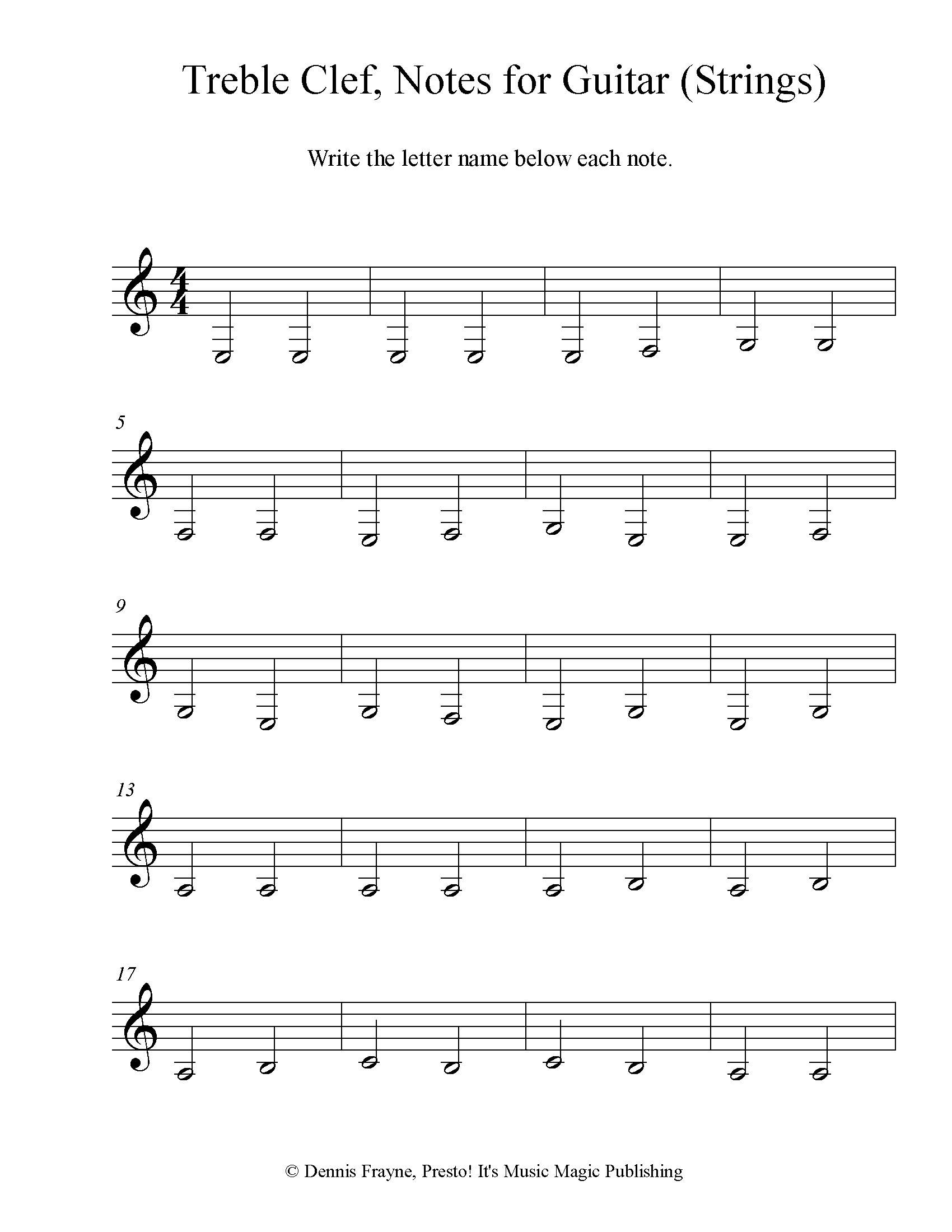 Treble Clef Note Identification for Guitar (emphasis on strings) 6 pages