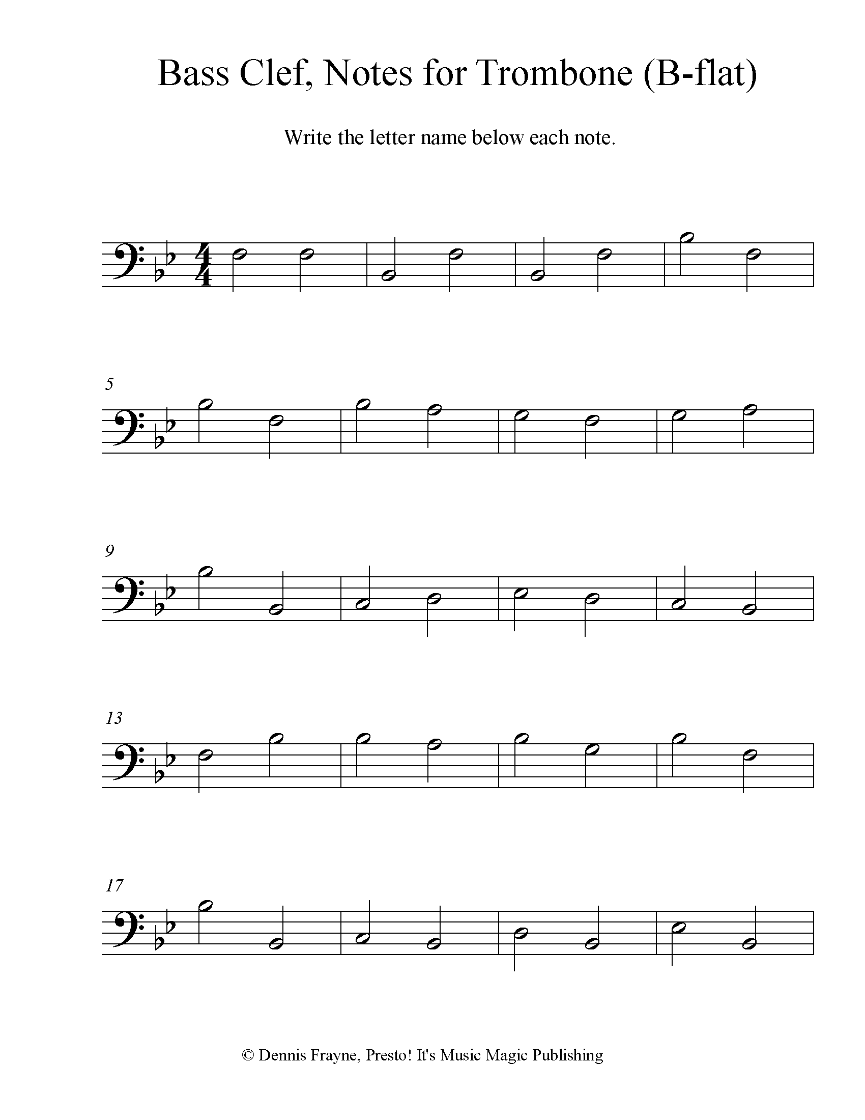 Bass Clef Note Identification for Trombone/Baritone (B-flat) 4 pages