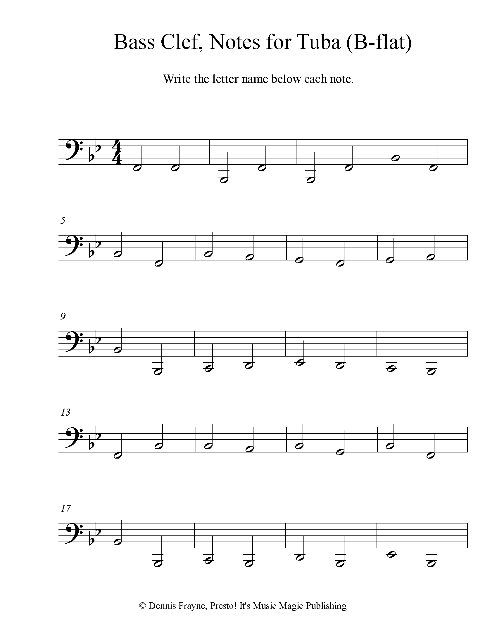Bass Clef Note Identification for Tuba (B-flat) 4 pages