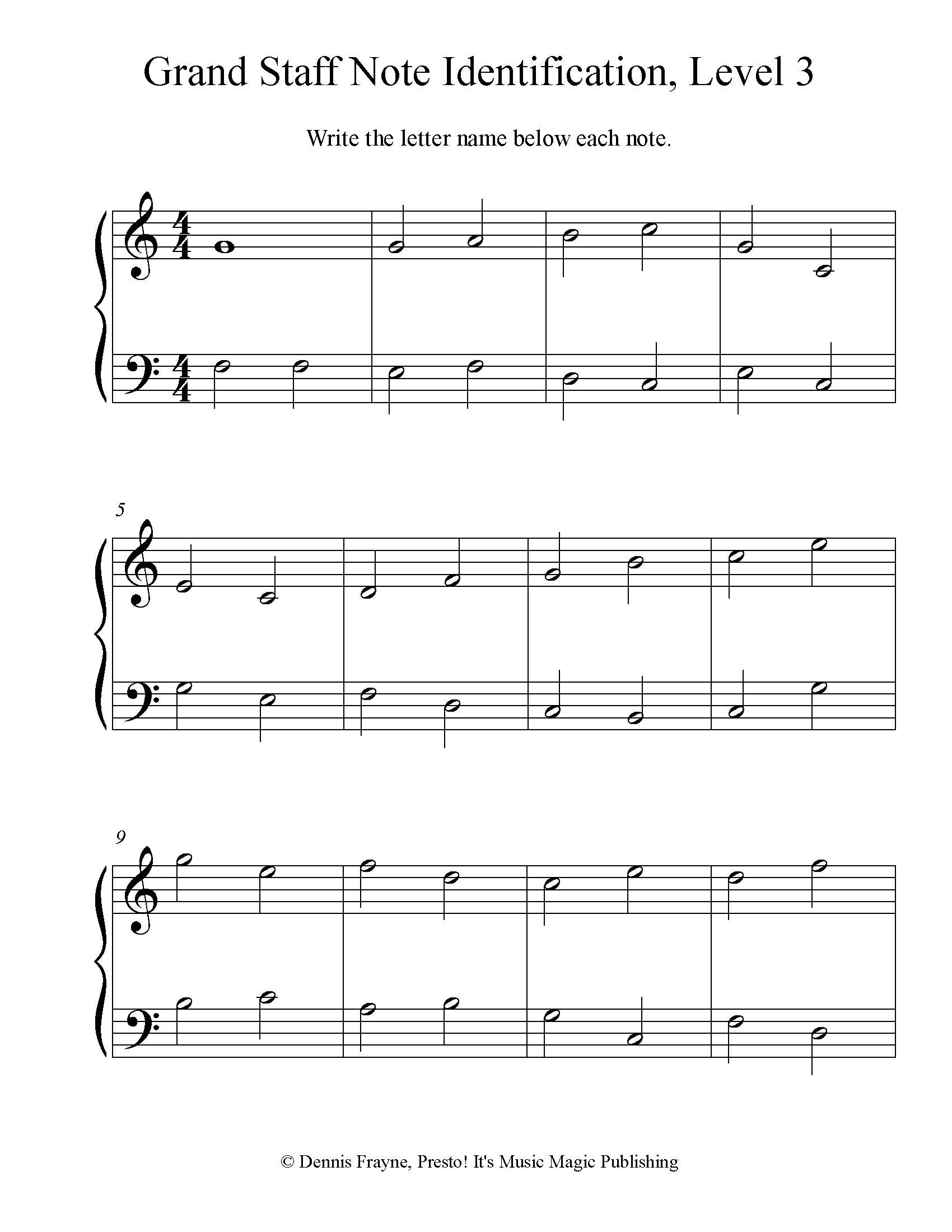 Grand Staff Note Identification Practice Worksheet, Level 3 6 pages
