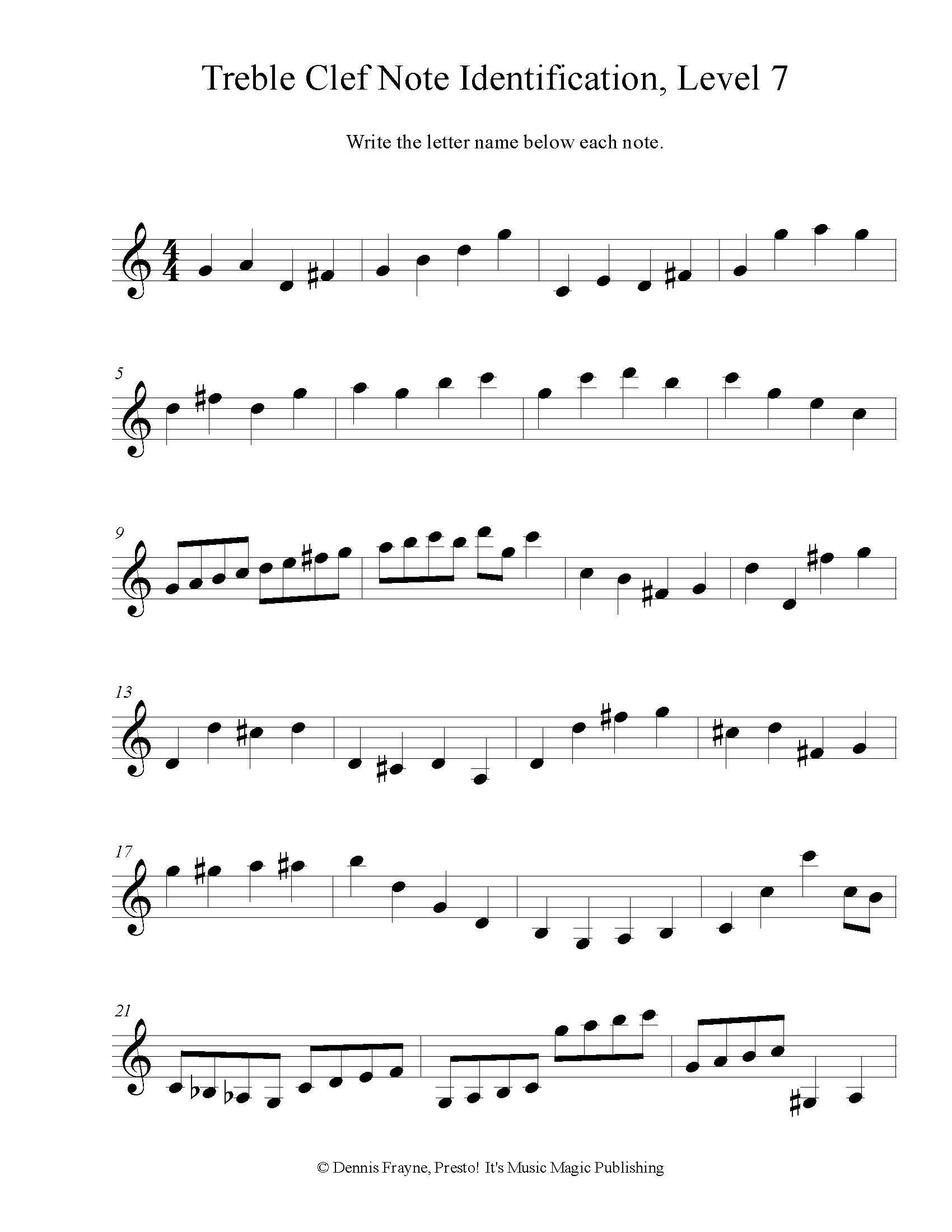 Treble Clef Note Identification, Intermediate, Level 7 2 pages