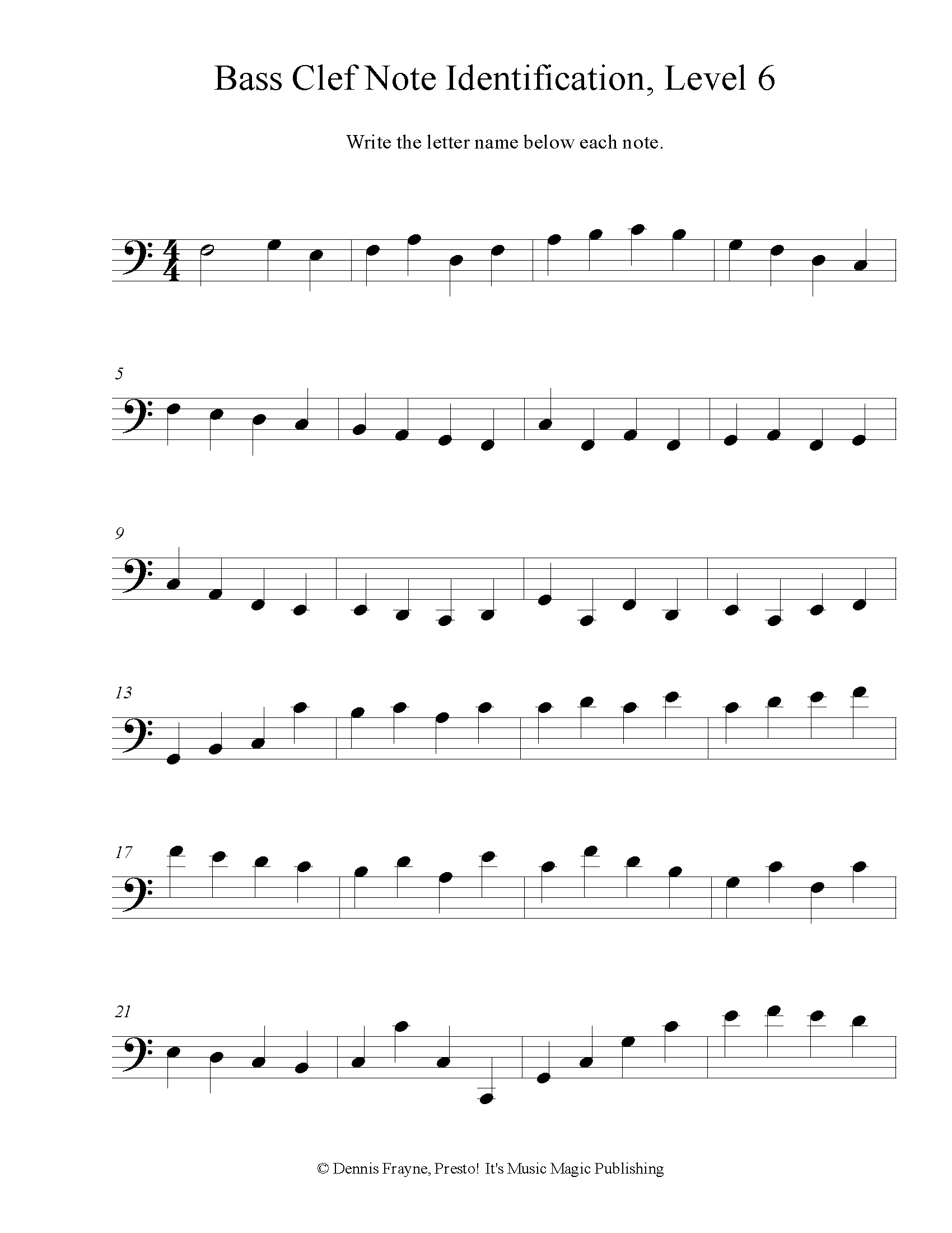 Bass Clef Note Identification, Intermediate, Level 6 2 pages