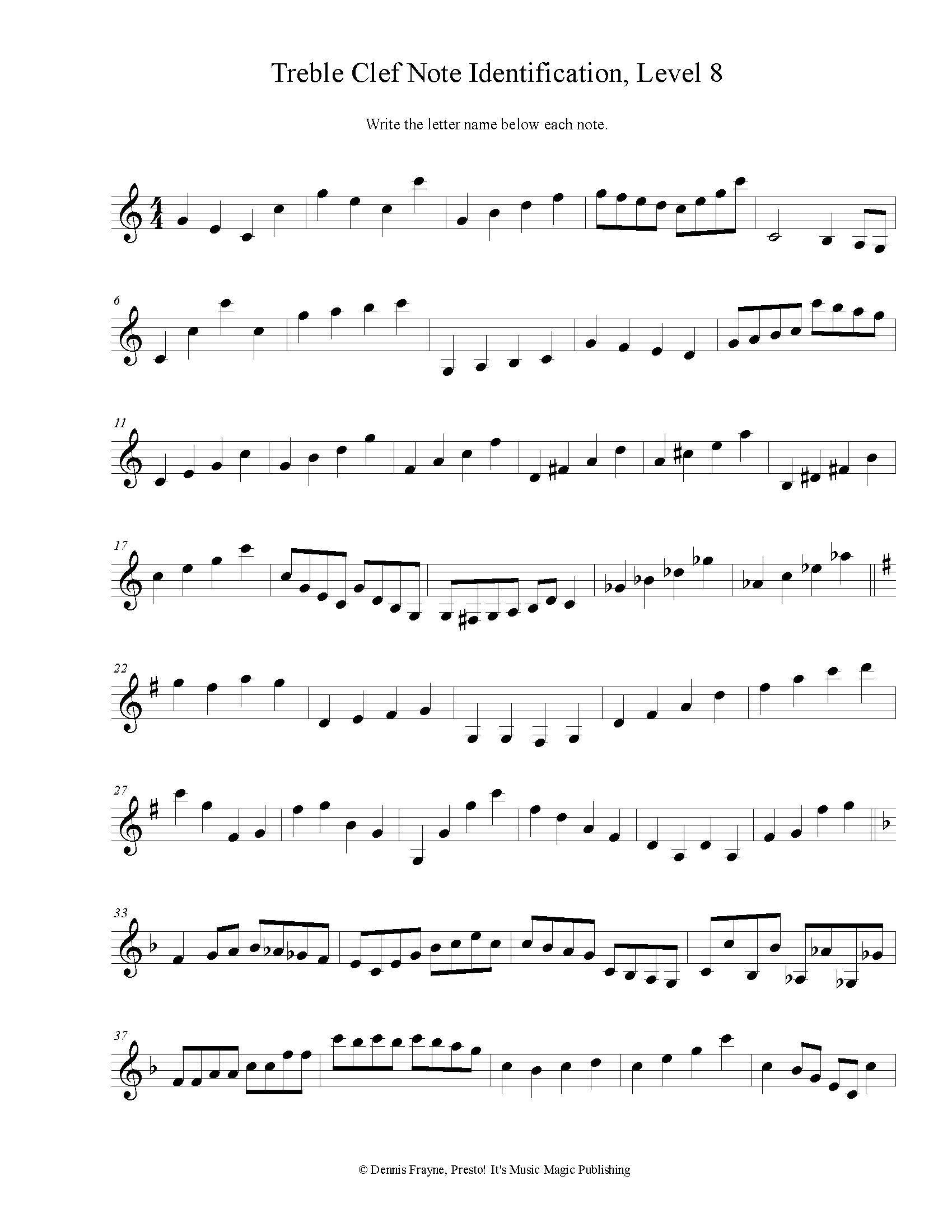 Treble Clef Note Identification, Advanced, Level 8 2 pages
