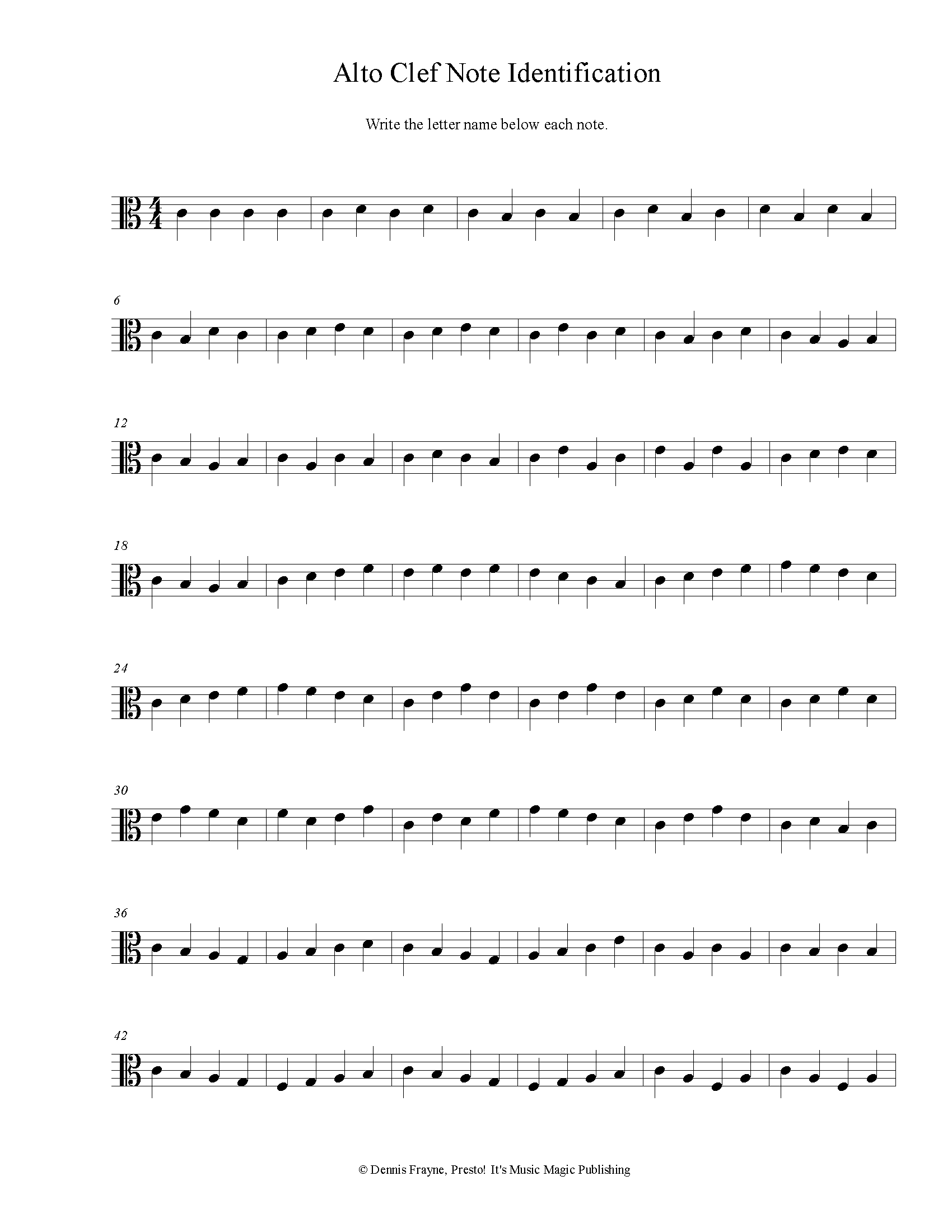Alto Clef Note Identification Printable Worksheet pdf file 2 pages