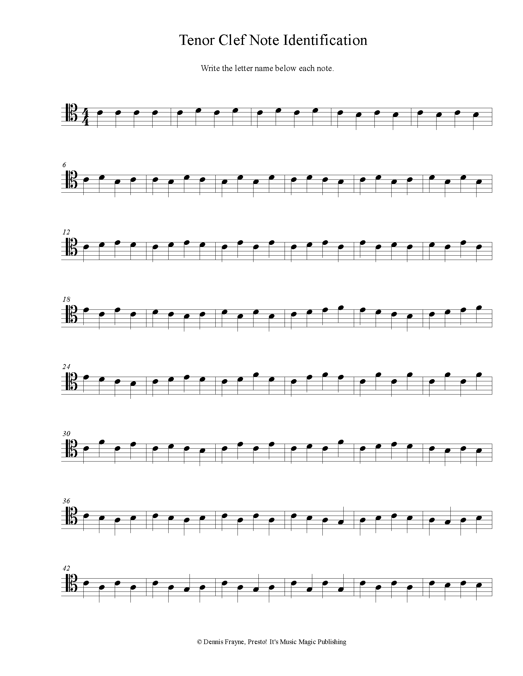 Tenor Clef Note Identification Printable Worksheet pdf file 2 pages