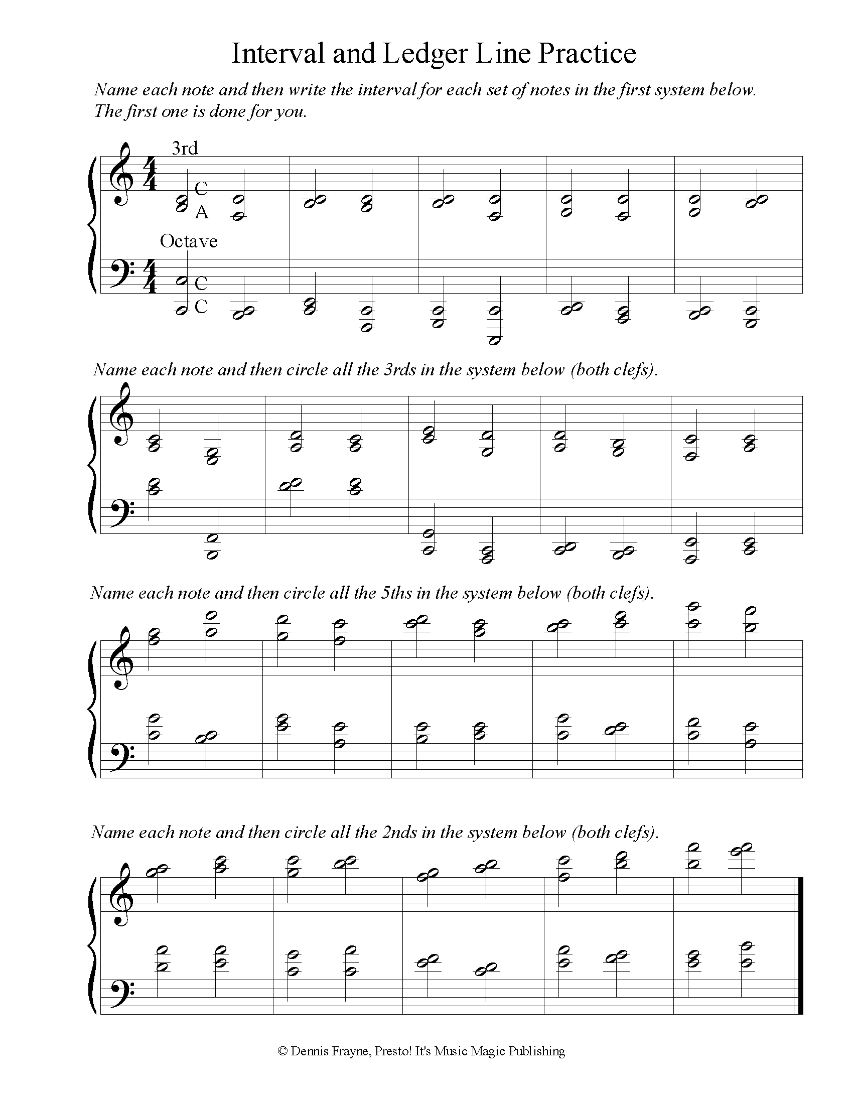 Grand Staff Ledger Line Note Naming and Intervals Practice 1 page