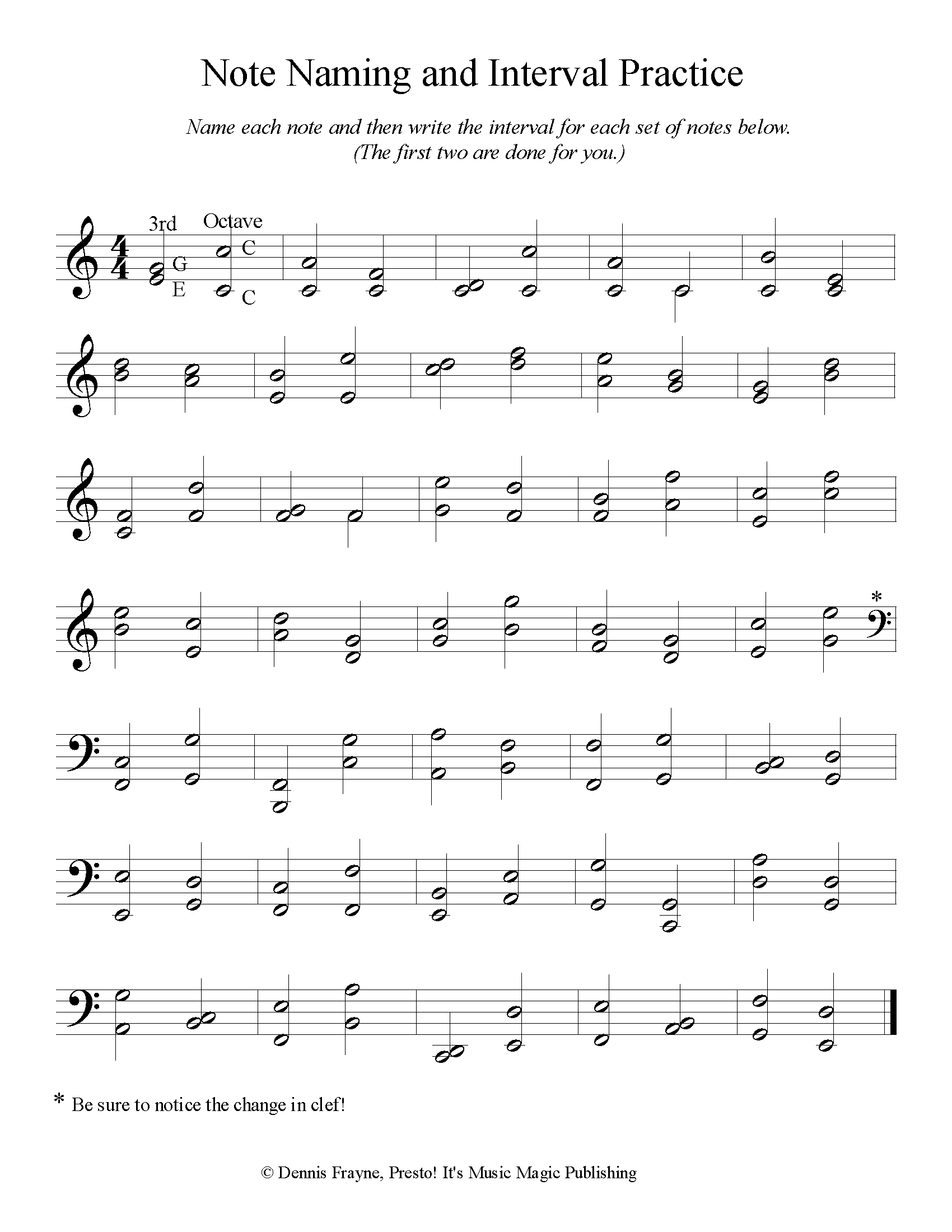 Grand Staff Note Naming and Intervals Practice 1 page