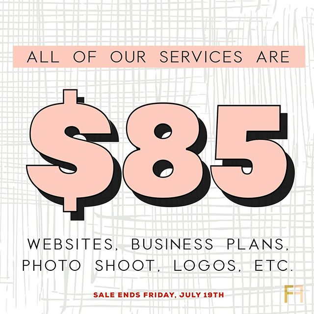 Happy Wednesday entrepreneurs! We are granting the FIRST 5 CLIENTS the opportunity to choose ANY of our services for just $85! That means websites, business plans, logos, photo shoots, social media templates, and more! ⠀⠀⠀⠀⠀⠀⠀⠀⠀ ⠀⠀⠀⠀⠀⠀⠀⠀⠀ Hurry hurry hurry. This sale ends Friday, 7/19. First come, first served! DM us to receive a special discount code♥️⠀⠀⠀⠀⠀⠀⠀⠀⠀ ⠀⠀⠀⠀⠀⠀⠀⠀⠀ ⠀⠀⠀⠀⠀⠀⠀⠀⠀ ⠀⠀⠀⠀⠀⠀⠀⠀⠀ ⠀⠀⠀⠀⠀⠀⠀⠀⠀ ⠀⠀⠀⠀⠀⠀⠀⠀⠀ #houstonhairstylists #houstonlashes #sunday #houston #houstonentrepreneurs #entrepreneur #foundationfirst #brand #business #smallbusinessowner #makeithappen #entrepreneurlife #bosslady #houstonbusiness