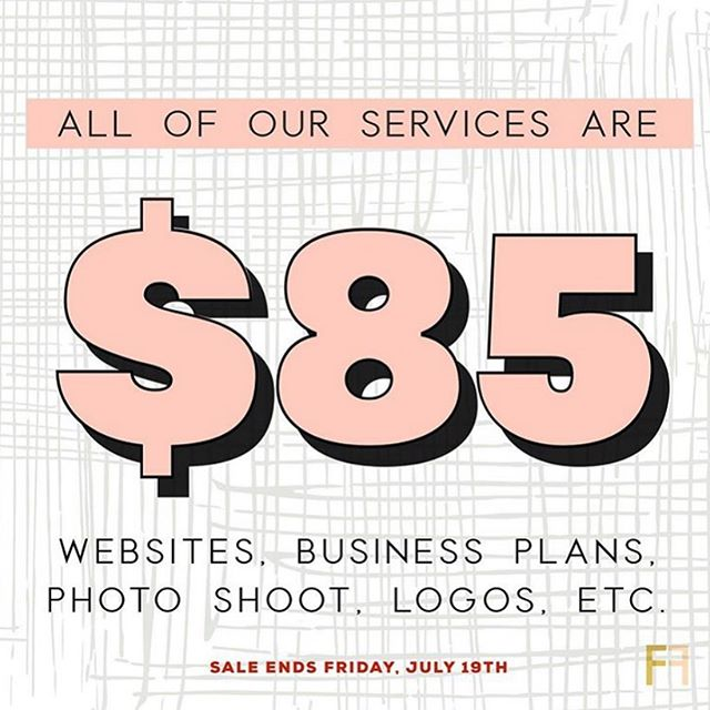 Happy Friday entrepreneurs! Today is the last day for you to take advantage of our $85 sale! We are granting the 3 MORE CLIENTS the opportunity to choose ANY of our services for just $85! That means websites, business plans, logos, photo shoots, social media templates, and more! ⠀⠀⠀⠀⠀⠀⠀⠀⠀ ⠀⠀⠀⠀⠀⠀⠀⠀⠀ Hurry hurry hurry. This sale ends TONIGHT. First come, first served! DM us to receive a special discount code♥️⠀⠀⠀⠀⠀⠀⠀⠀⠀ ⠀⠀⠀⠀⠀⠀⠀⠀⠀ ⠀⠀⠀⠀⠀⠀⠀⠀⠀ ⠀⠀⠀⠀⠀⠀⠀⠀⠀ ⠀⠀⠀⠀⠀⠀⠀⠀⠀ ⠀⠀⠀⠀⠀⠀⠀⠀⠀ #houstonhairstylists #houstonlashes #sunday #houston #houstonentrepreneurs #entrepreneur #foundationfirst #brand #business #smallbusinessowner #makeithappen #entrepreneurlife #bosslady #houstonbusiness