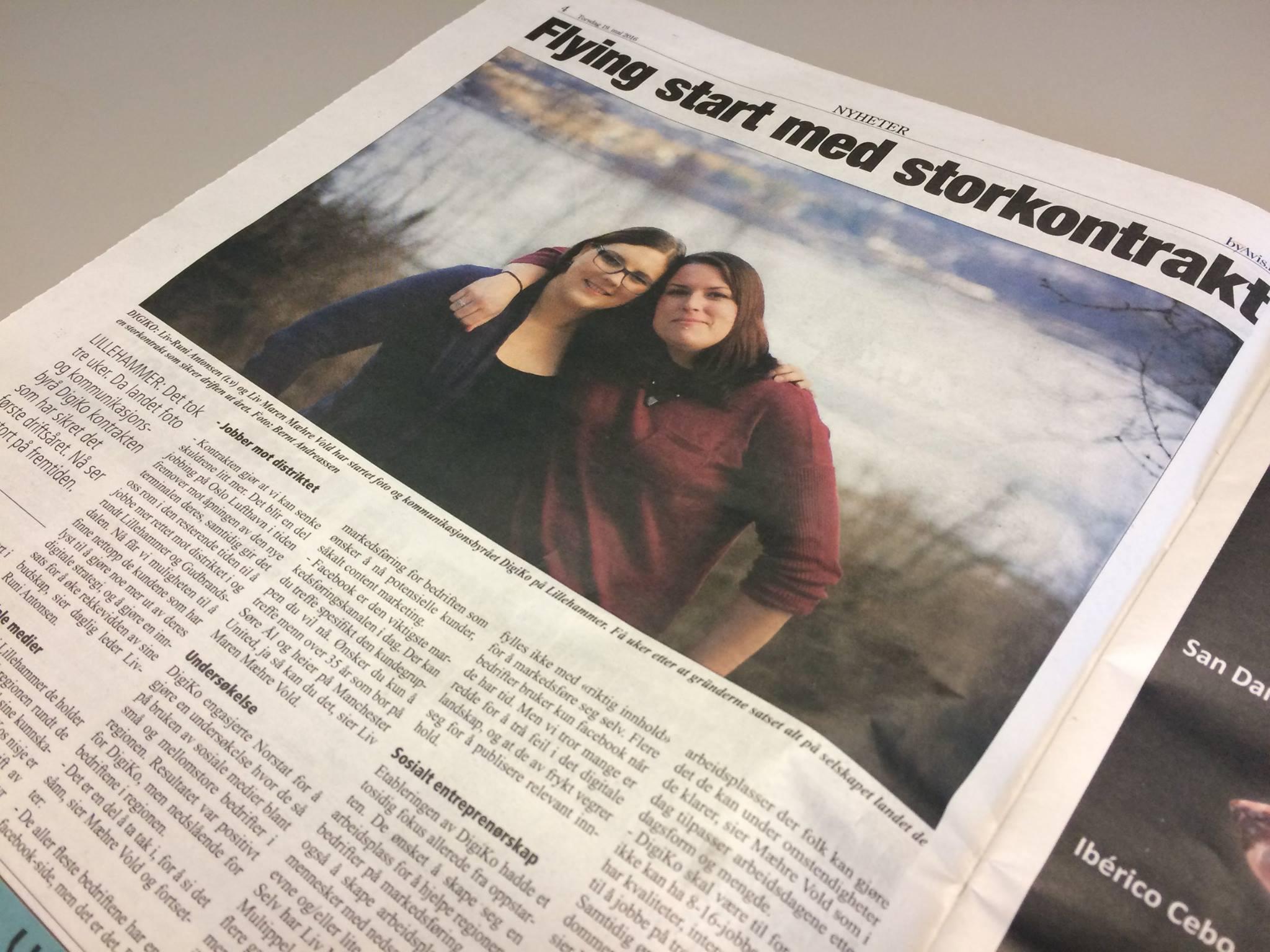 Liv-Runi Antonsen (t.v) og Liv Maren Mæhre Vold (t.h) fikk pang-start i Lillehammer: storkontrakt med Avinor.  Les om prosjektet her.