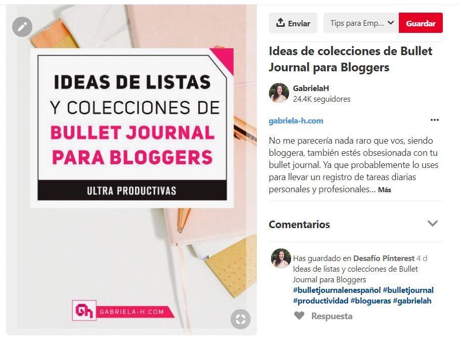 Ejemplo de cómo usar Hashtags en Pinterest