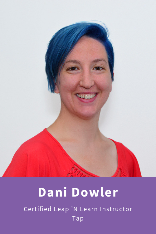 Dani is the child whisperer, effortlessly connecting with children at eye level with genuine interest in what they're thinking about and what's going on with them. She loves immersing her students in the Leap 'n Learn pre-ballet curriculum and is enthusiastic about teaching the rhythms and movements of tap dancing. Dani holds Bachelor of Arts degrees in psychology and theater with a concentration in dance, and Master of Fine Arts degree in contemporary dance from Case Western Reserve University.