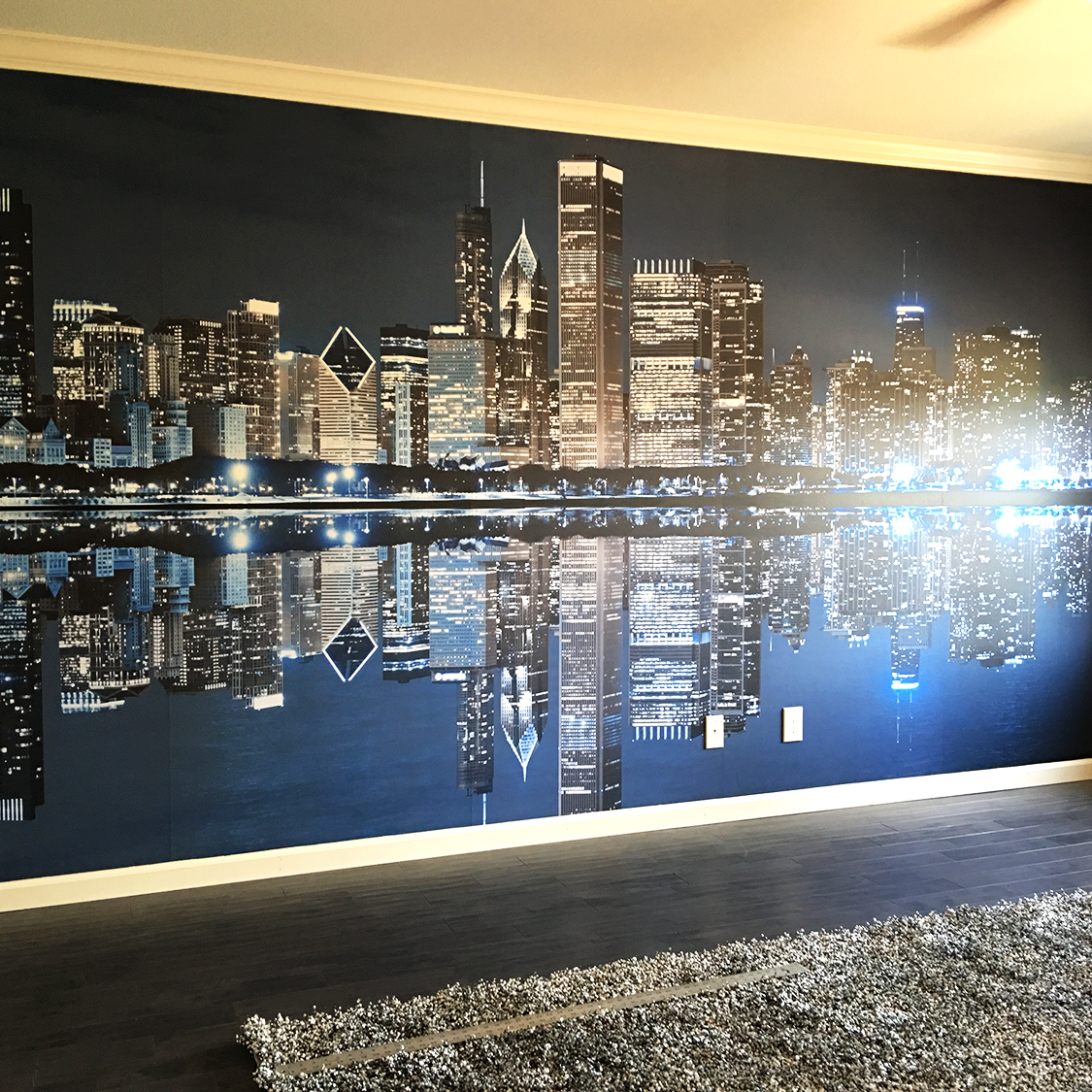 RESIDENTIAL - Residential products and services range from hand-stretched canvases and custom frames to fine art prints and photo reproductions. Our team of professionals works with you every step of the way as your idea becomes a reality.Pictured: Custom Printed and Installed Wall Cling Mural in the master bedroom of a private home