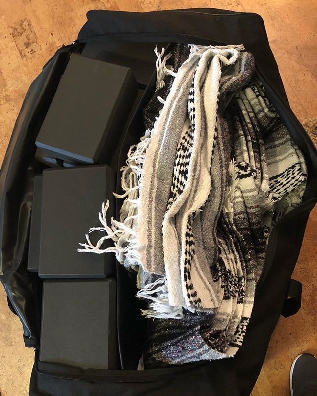 We are ready for our November 10th retreat! (Almost). 🌳 Who knew you could fit 20 blocks and 12 blankets in a big sports equipment bag! 💼 wow!#yogablocks #yogablankets #supportyourself #dontgopropfree #eatsasana #friendsyogafokd #togetherwenourish